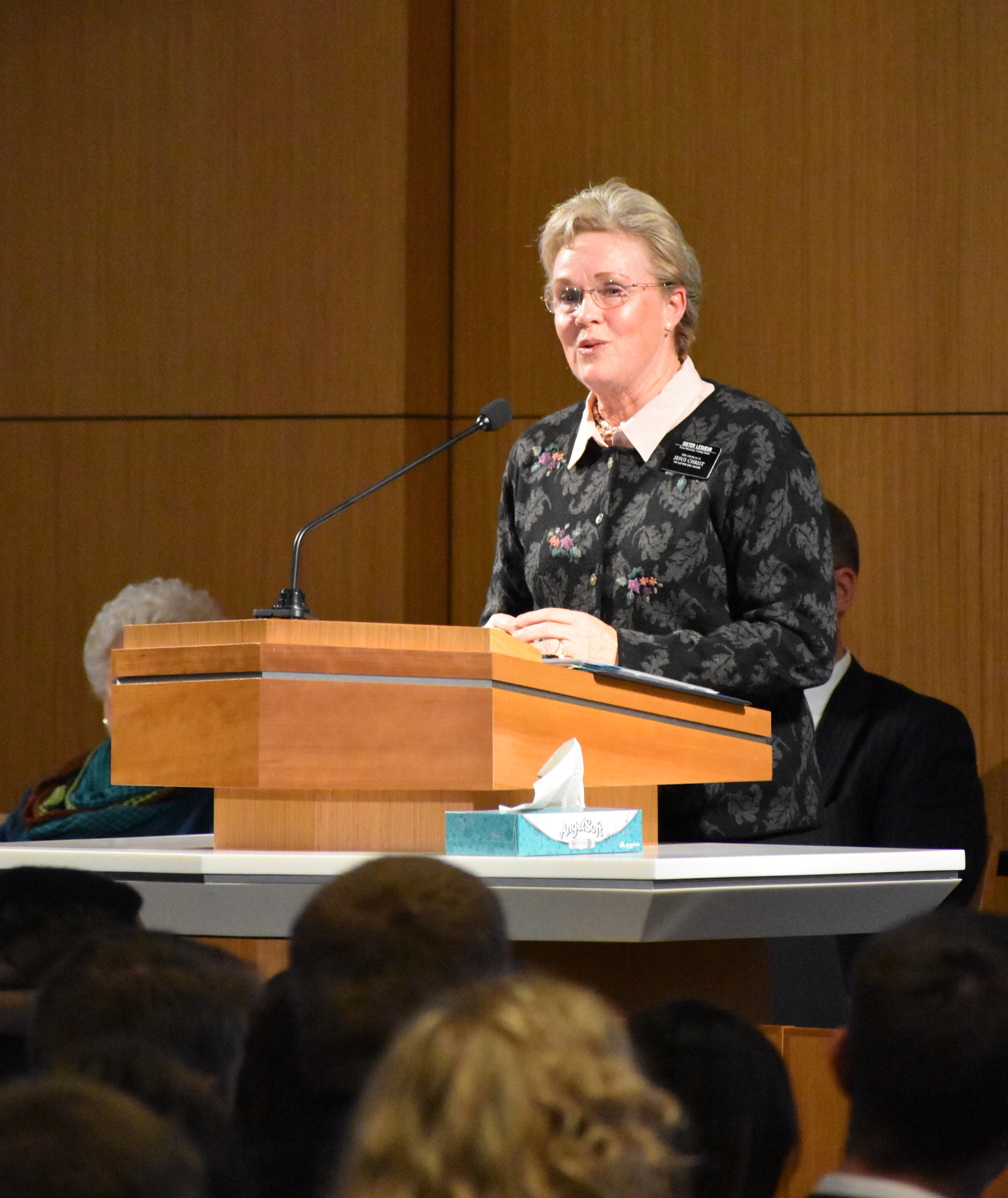 Sister Nancy LeSueur, the Relief Society president for the Provo Missionary Training Center and wife of MTC President David E. LeSueur, speaks to the new missionaries who arrived at the missionary training center earlier that afternoon on Wednesday, Jan. 16, 2019.