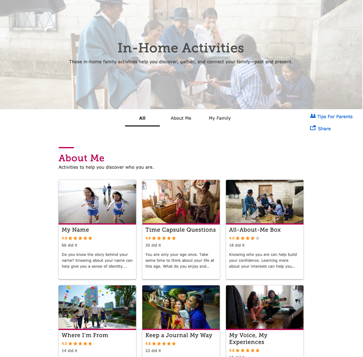 "FamilySearch's landing page for desktop users looking for ""About Me"" and ""My Family"" in-home activities to help children and youth participate in family history activities."