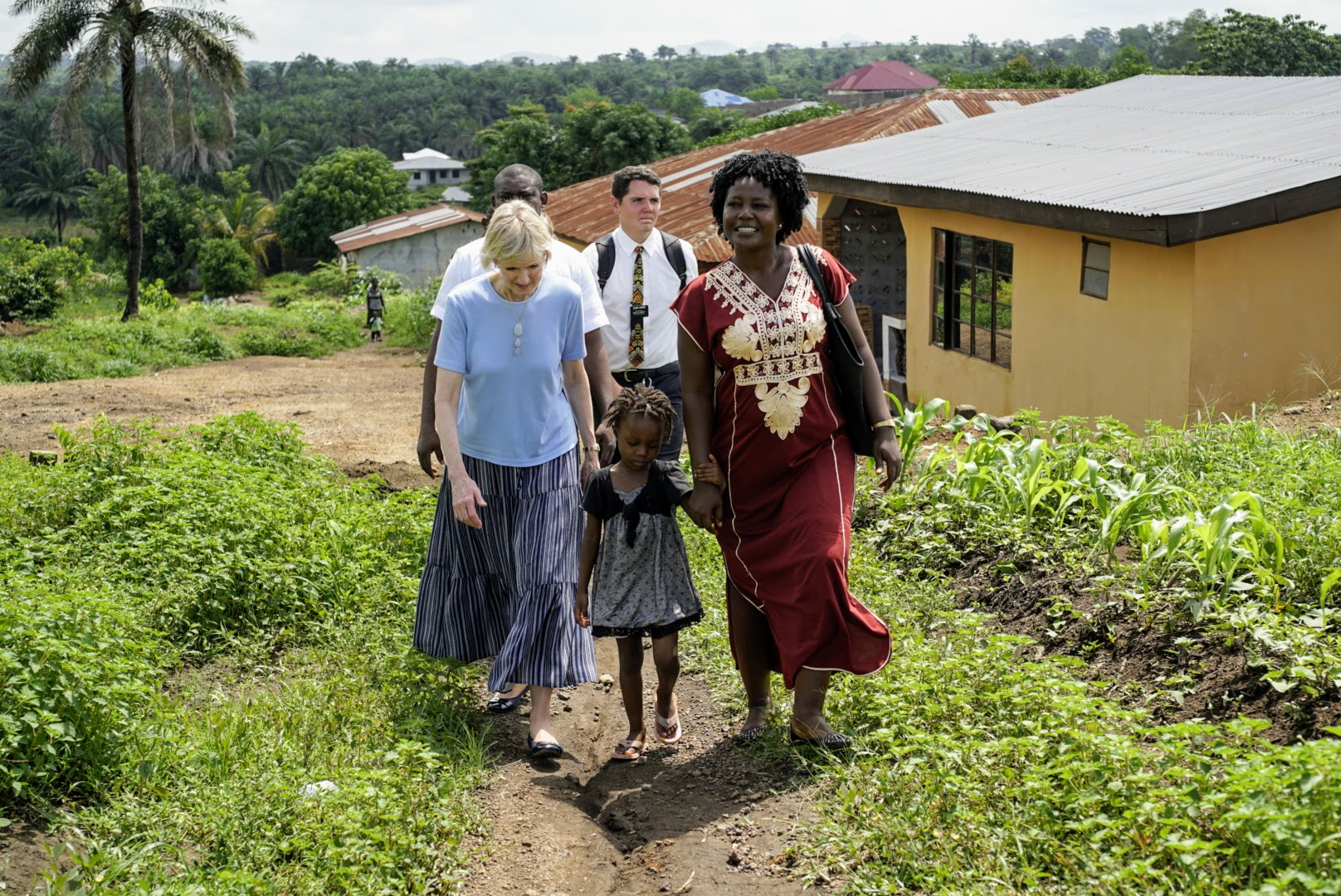 Sister Jean B. Bingham walks with members in Sierra Leone during a recent 11-day trip from June 5 through June 16, 2019, to the West African country.