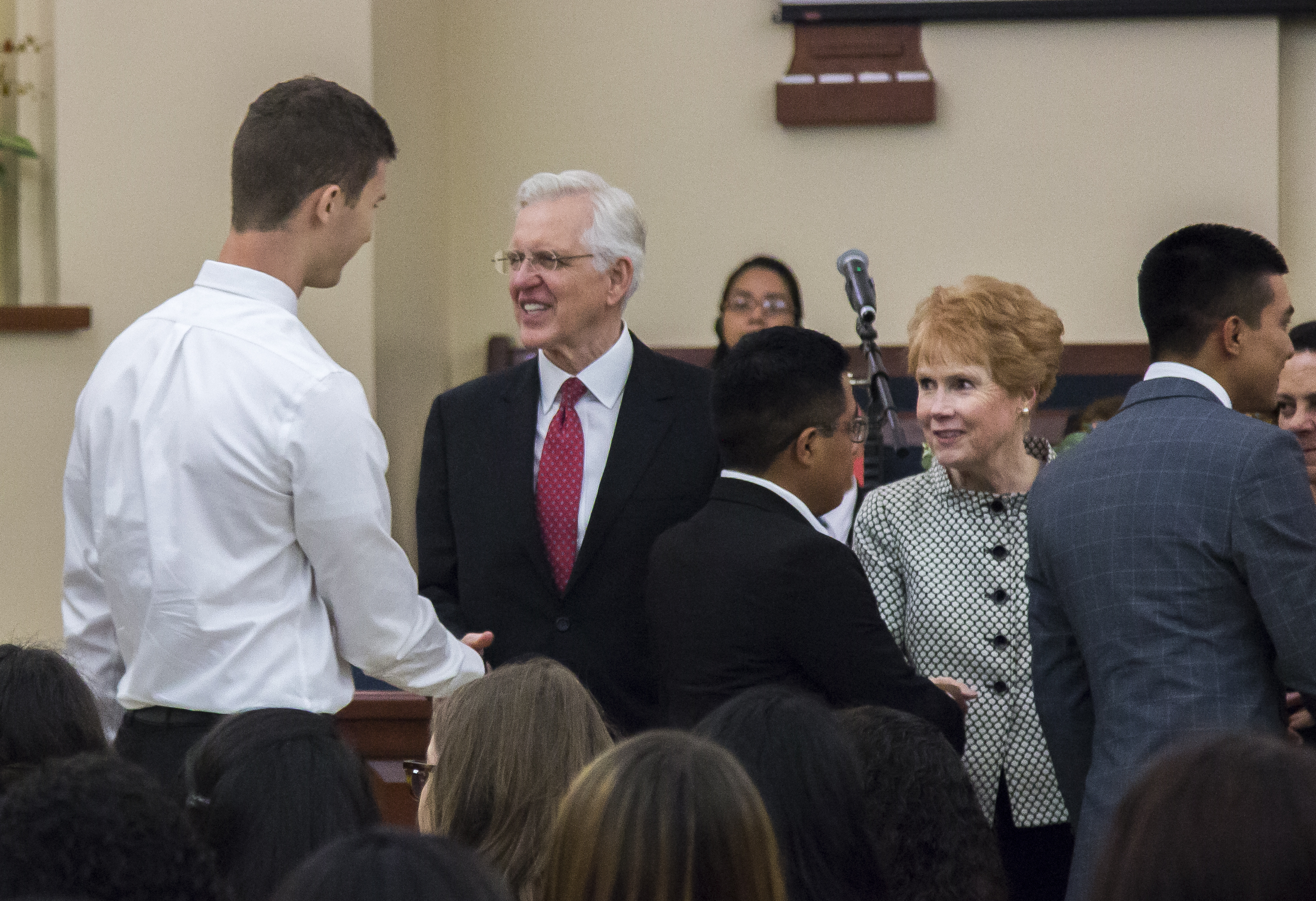 Elder D. Todd Christofferson on Saturday, February 9 at the three-mission meeting held for the three El Salvador missions in San Salvador.