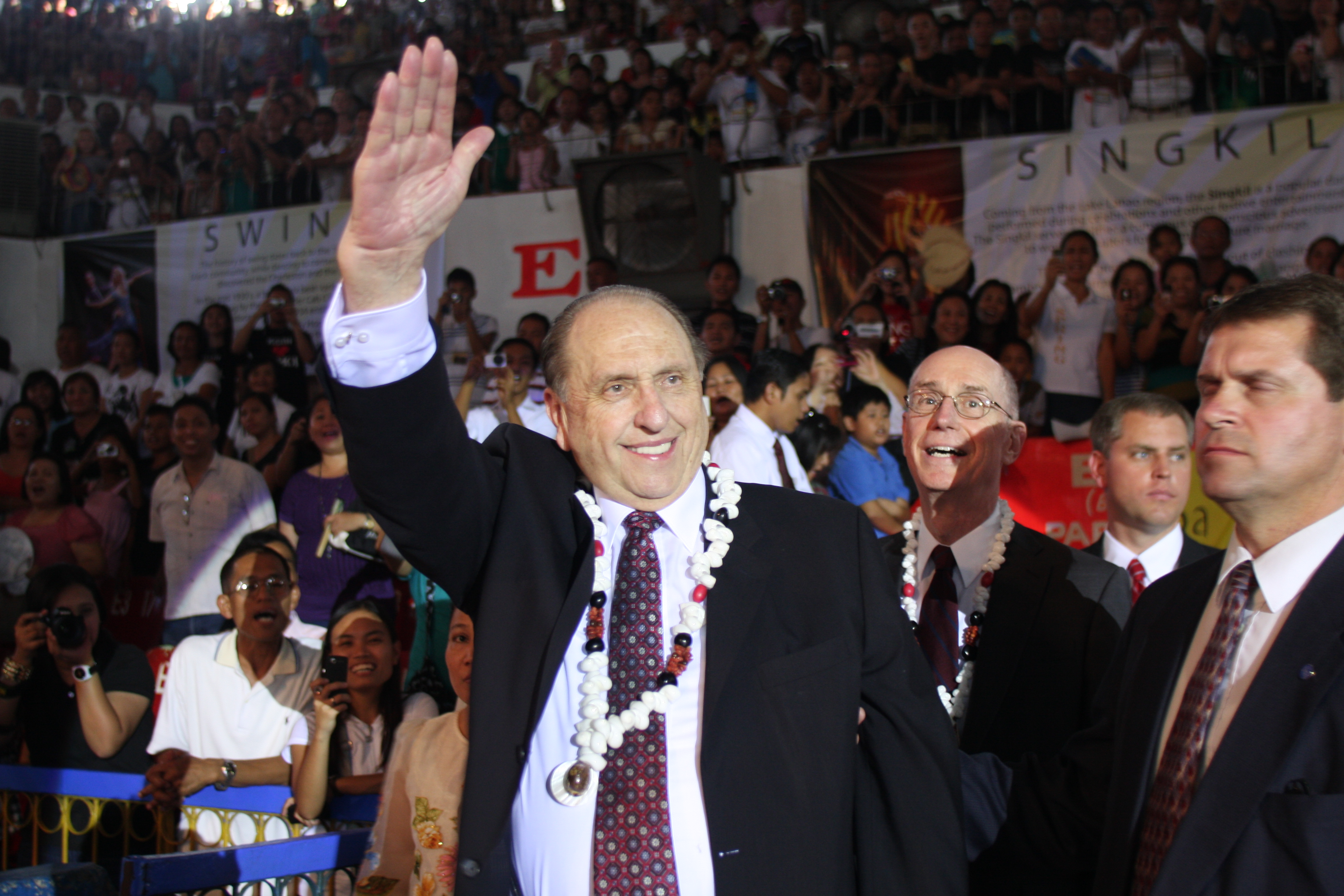President Thomas S. Monson and President Henry B. Eyring, first counselor in the First Presidency, arrive at the cultural celebration held June 12, 2010, the evening before the dedication of the Cebu City Philippines Temple.