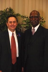 Fairfax County Supervisor Michael Frey with Rev. Dr. Eugene Johnson, pastor of Mount Olive Baptist Church in Centreville, Virginia.