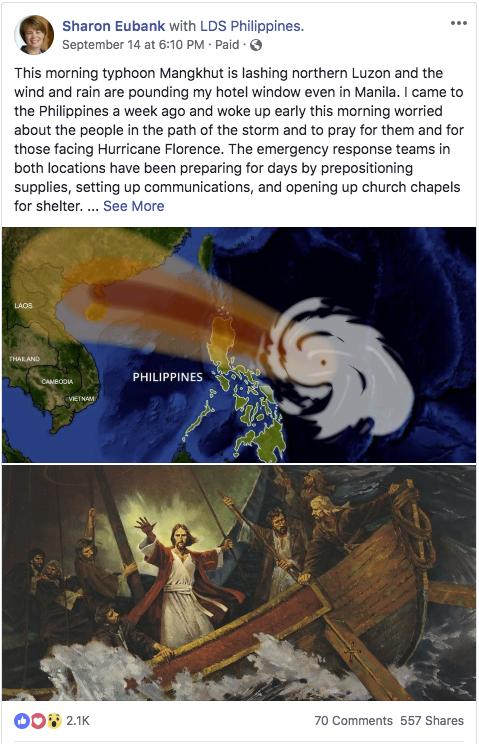 On the morning of Sept. 15, wind and rain pounded on Sister Eubank's hotel room in Manila. Even from that distance, she felt the effects of Typhoon Mangkhut, which had descended on northern Luzon in the Philippines. She awoke early that morning to pray for those in the path of Mangkhut and Hurricane Florence, sharing a thought from Sister Grace Teh, the wife of Elder Michael John U. Teh.