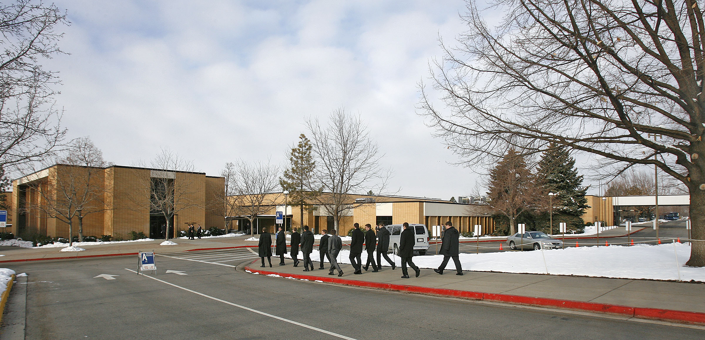 The Heber C. Kimball Building, left, one of the five oldest training buildings at the Provo Missionary Training Center, is seen in this Jan. 14, 2008, photograph. The Wilford Woodruff Administration Building is on the right.