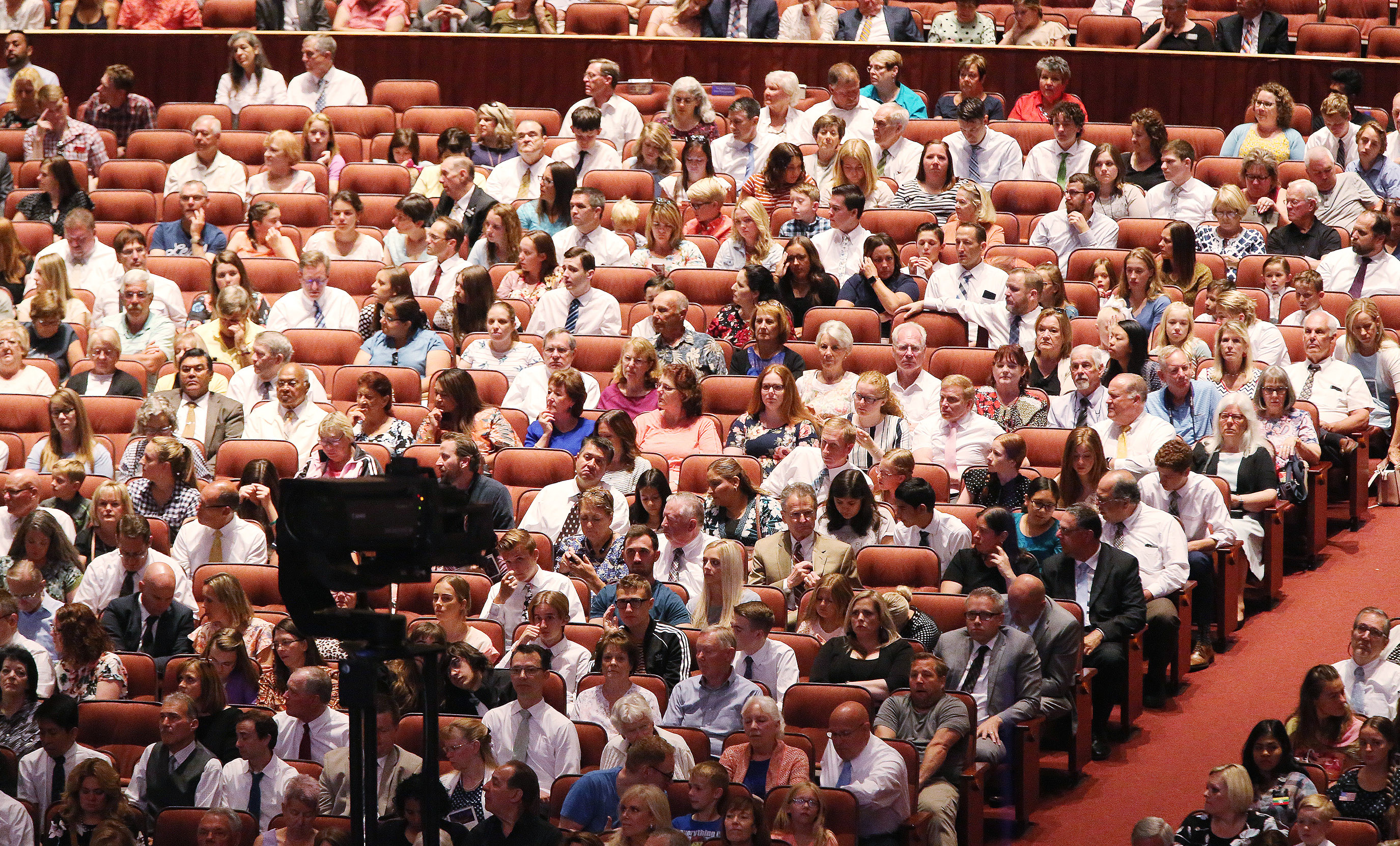 "Attendees listen as the Tabernacle Choir at Temple Square rehearses for the 90th anniversary of ""Music and the Spoken Word"" in Salt Lake City on Sunday, July 14, 2019."