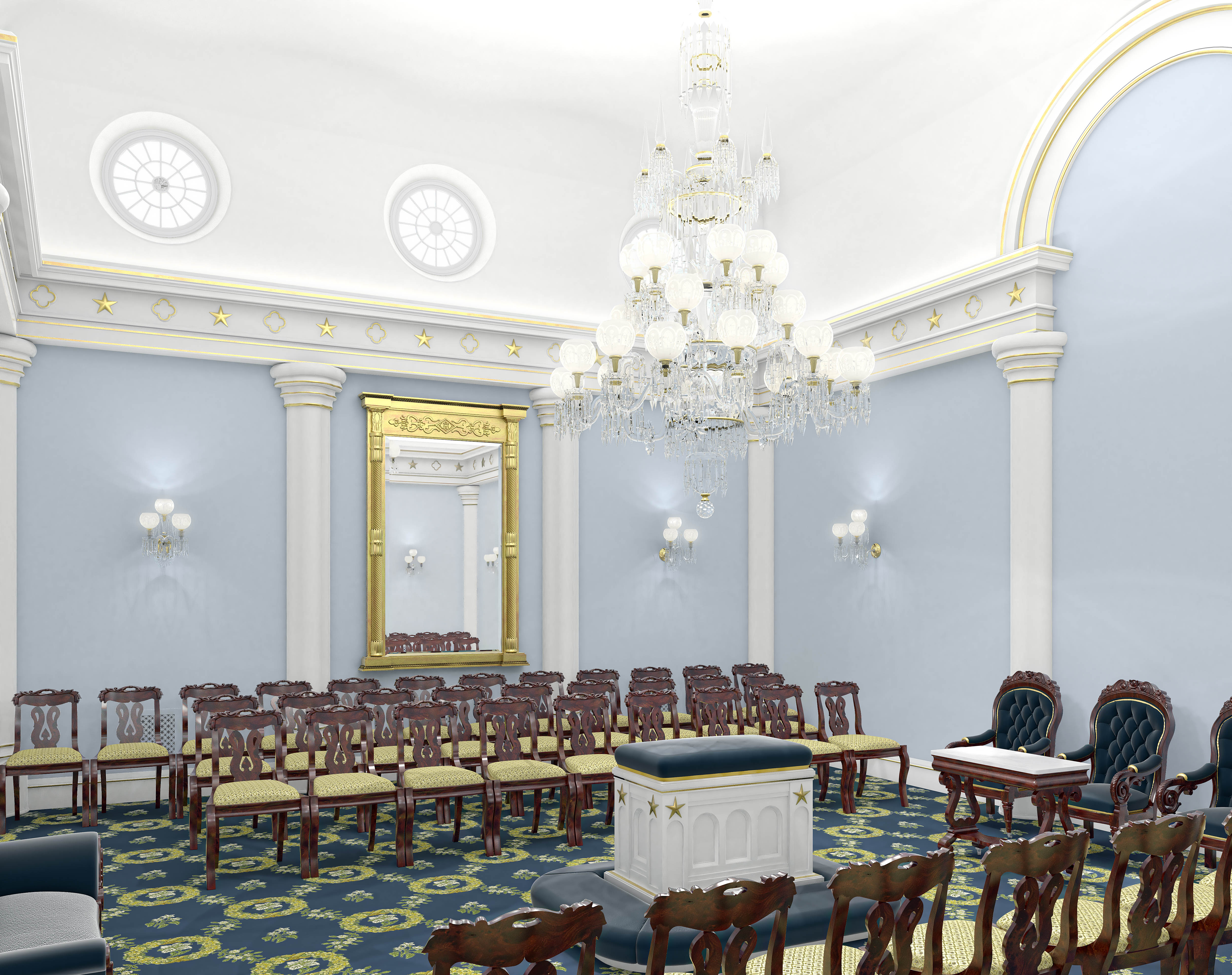 A rendering of a sealing room in the St. George Utah Temple. The temple will close Nov. 4 for extensive renovations.