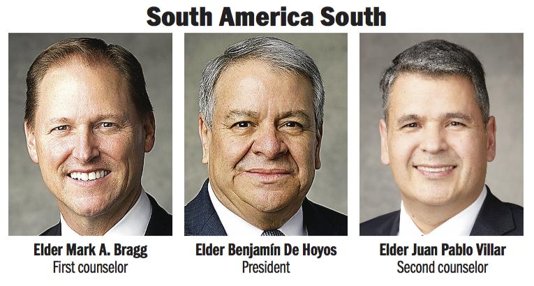 South America South Area presidency: Elder Benjamín De Hoyos, Elder Mark A. Bragg and Elder Juan Pablo Villar.