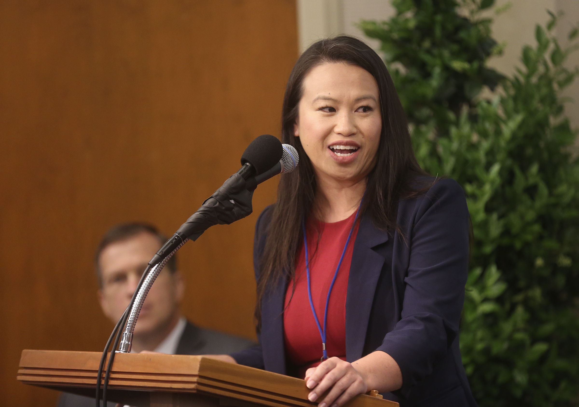 Sheng Tao, Oakland city councilwoman, speaks during a news conference held in the visitors' center for the newly renovated Oakland California Temple, of The Church of Jesus Christ of Latter-day Saints, in Oakland, Calif., on Monday, May 6, 2019.