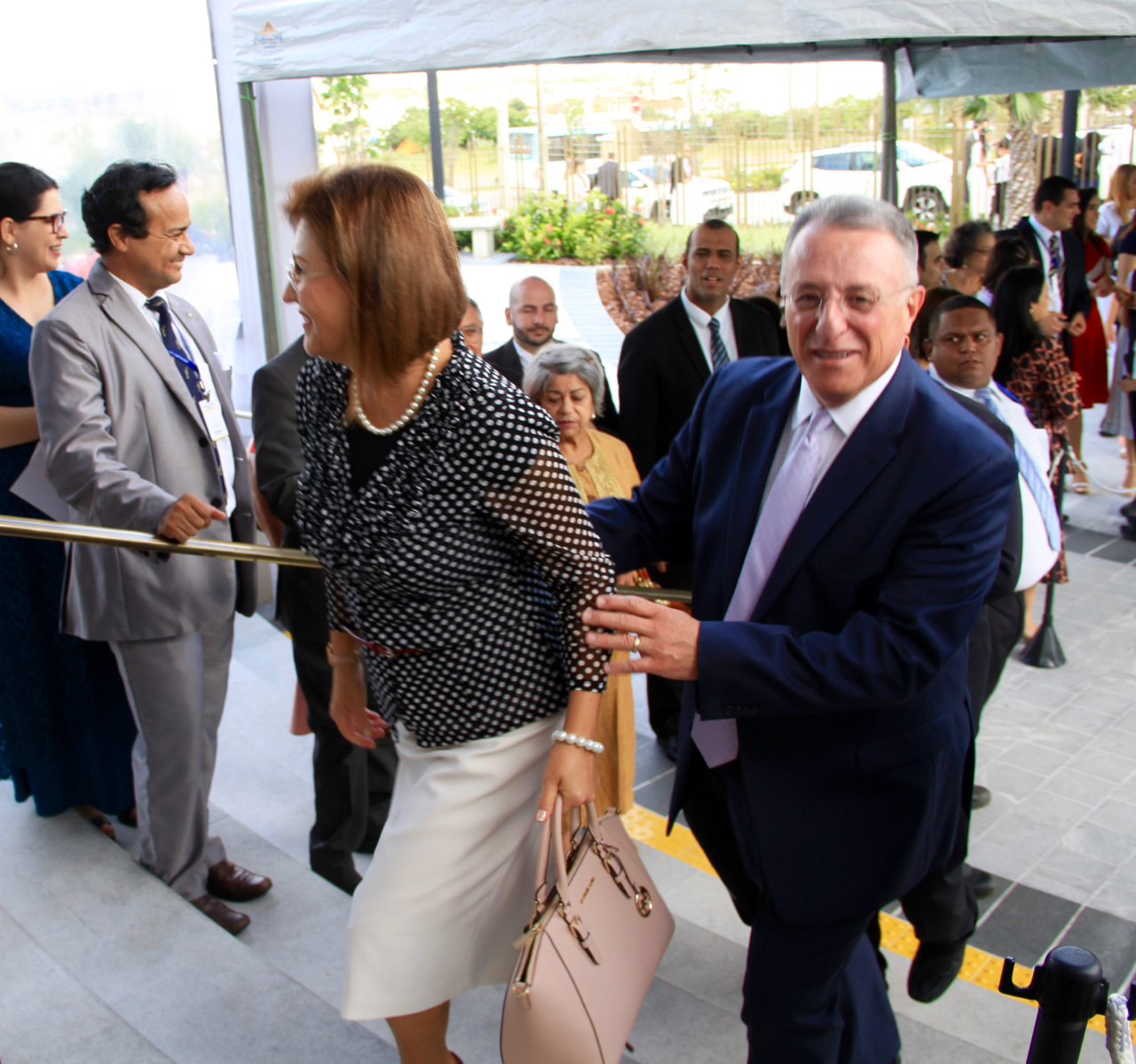 Elder Ulisses Soares of the Quorum of the Twelve Apostles and his wife, Sister Rosana Soares, arrive at the Fortaleza Brazil Temple on the morning of its dedication on June 2, 2019.