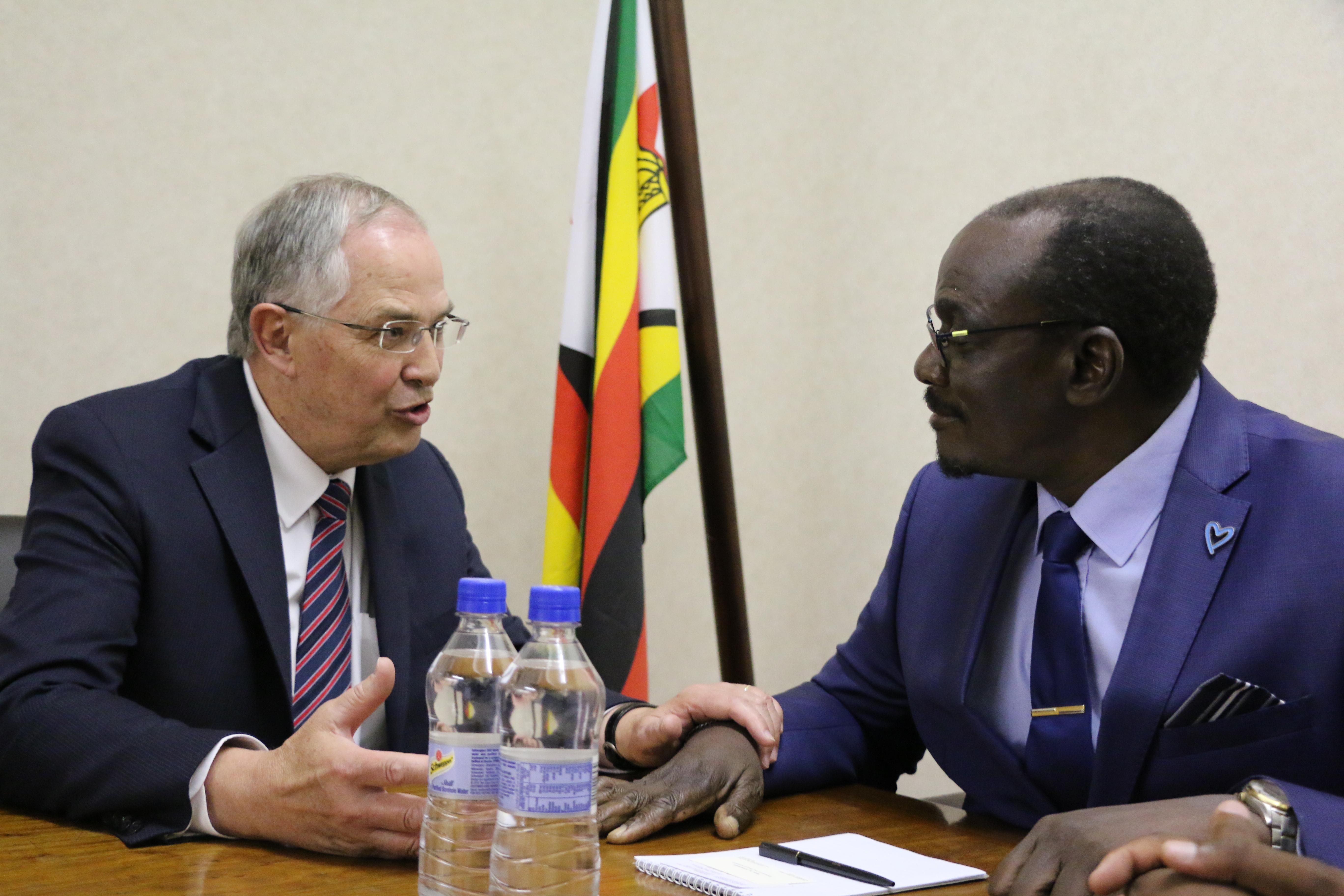 Elder Neil L. Andersen meets with Zimbabwe Vice President K. Mohadi on Nov. 15, 2018.