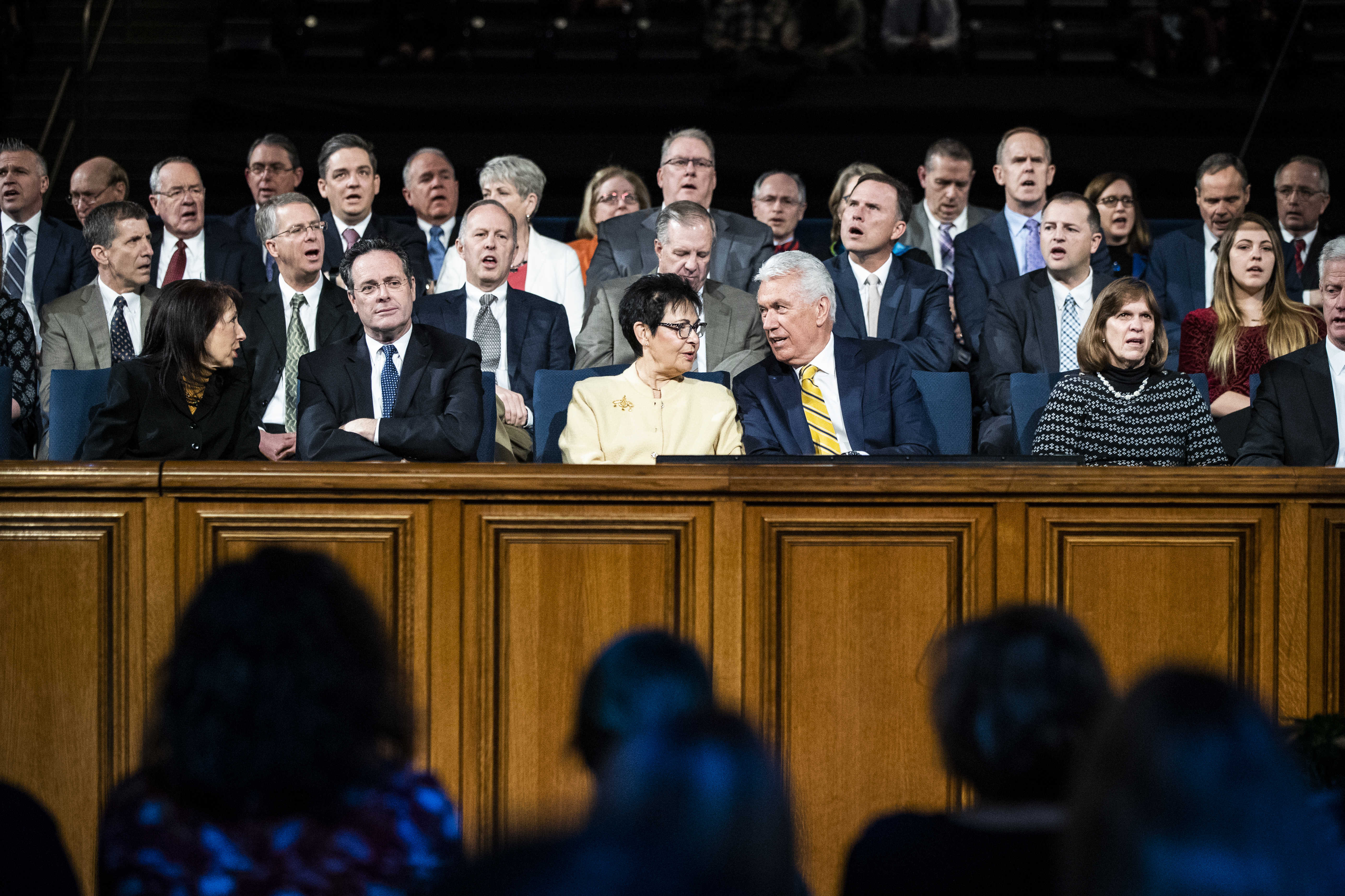 Elder Dieter F. Uchtdorf of the Quorum of the Twelve Apostles sits on the stand with his wife Harriet R. Uchtdorf during a devotional on the BYU campus in Provo, Utah on Tuesday, Jan. 15, 2019.