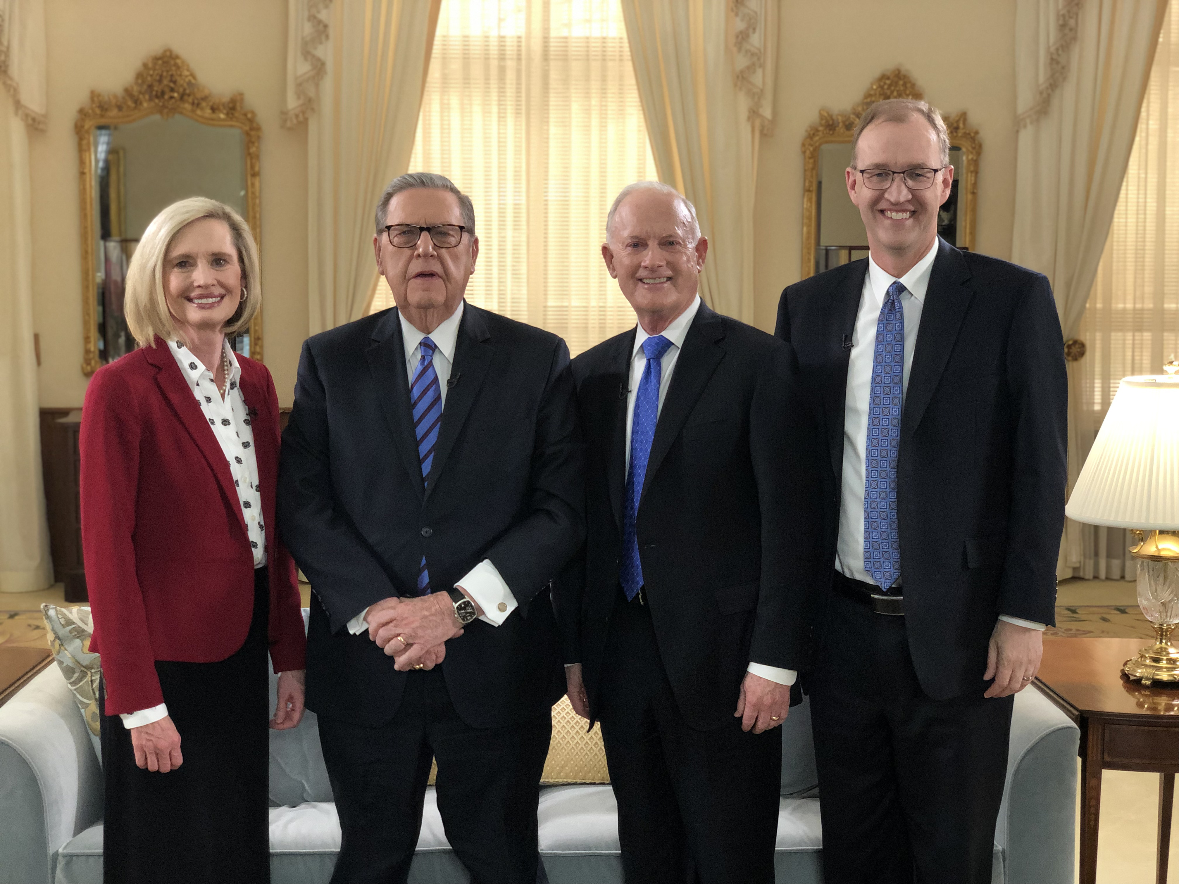 "Sister Bonnie H. Cordon, Elder Jeffrey R. Holland, Elder Kim B. Clark and Chad H. Webb pose for a photo after filming a video regarding the First Presidency announcement that seminary curriculum will align with ""Come, Follow Me."""