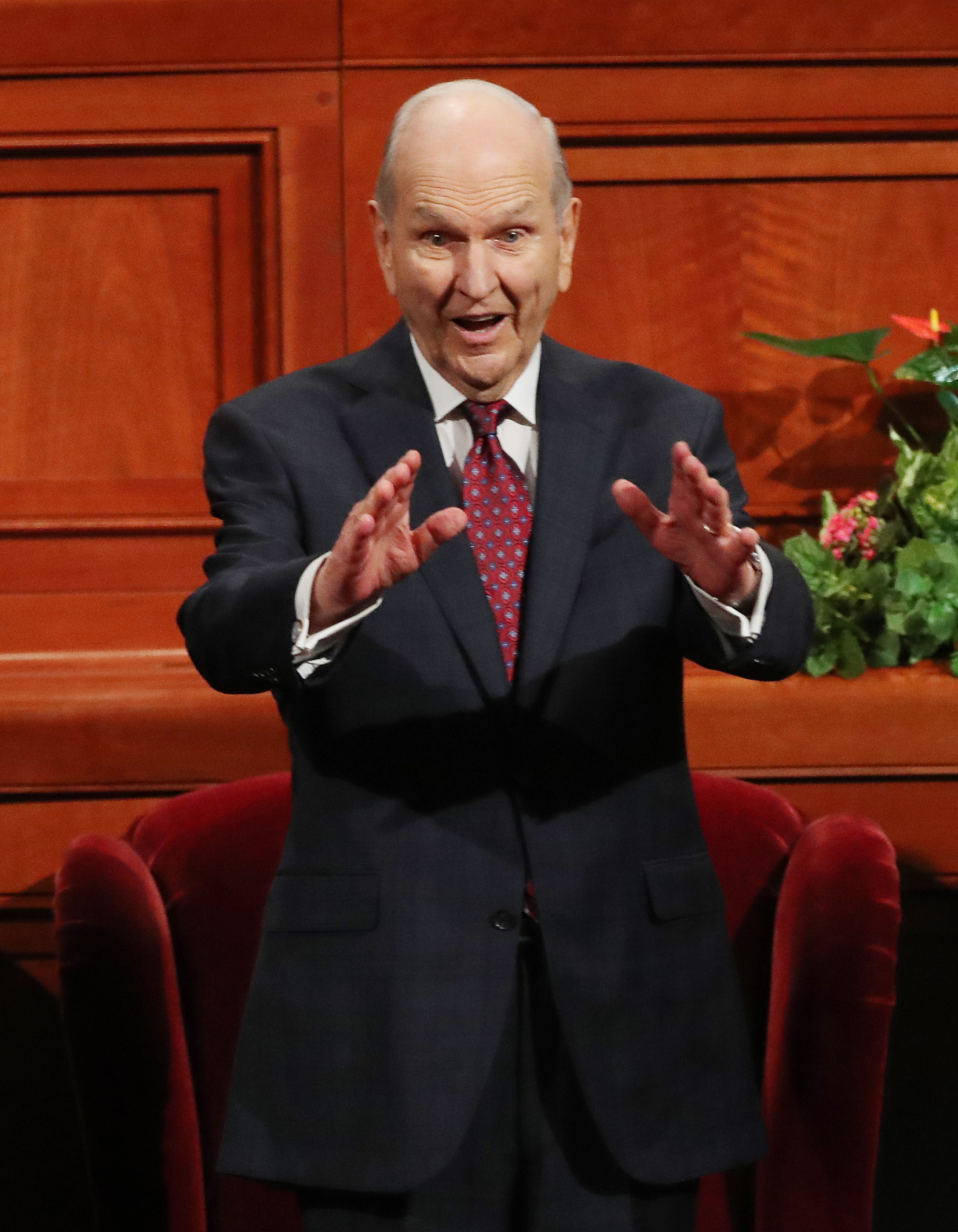 President Russell M. Nelson gestures to attendees prior to the Saturday afternoon session of the 188th Semiannual General Conference of The Church of Jesus Christ of Latter-day Saints in the Conference Center in Salt Lake City on Sunday, Oct. 7, 2018.