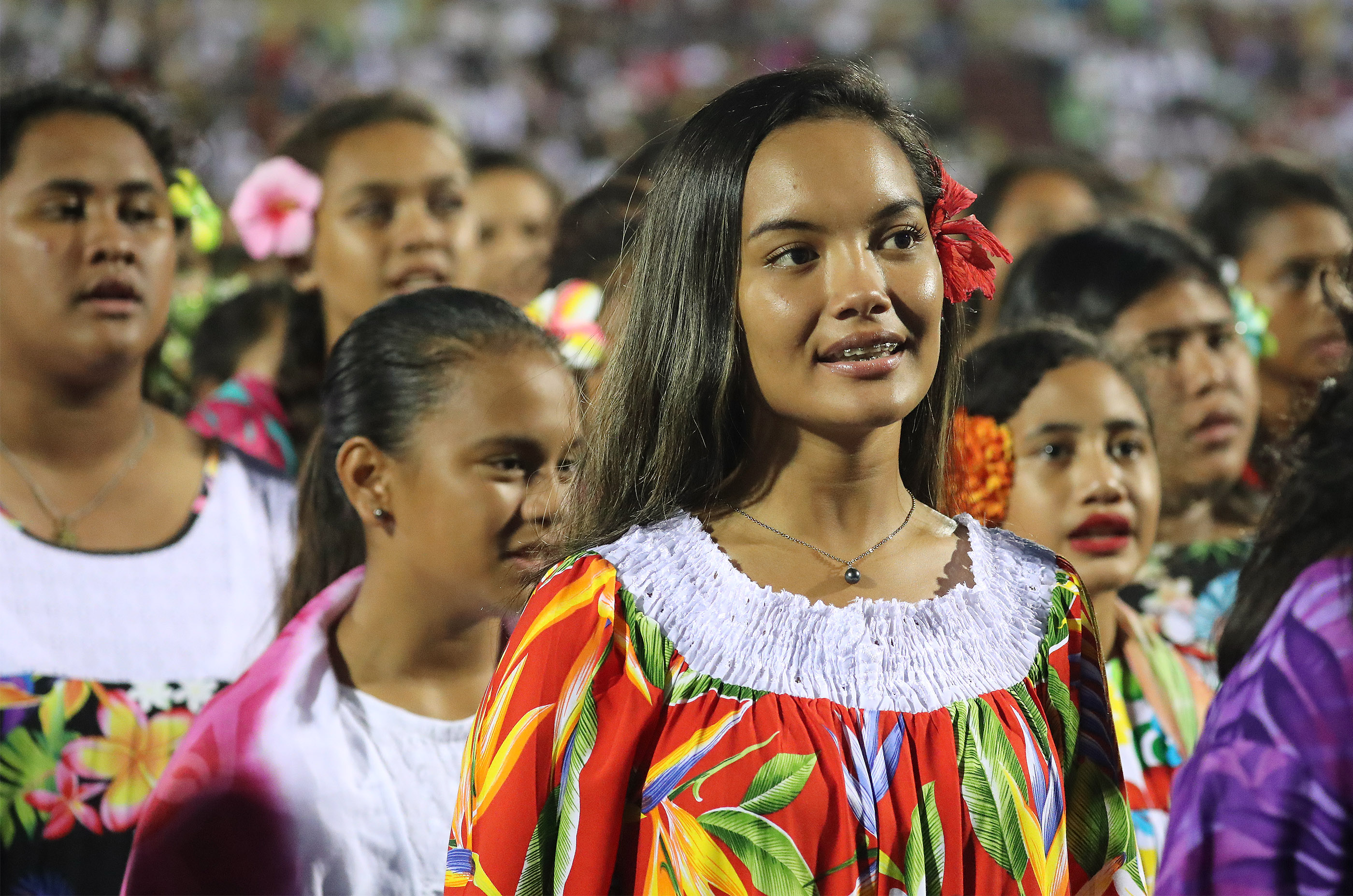 Performers sing during a Tahiti cultural program in Papeete, Tahiti, on May 24, 2019.