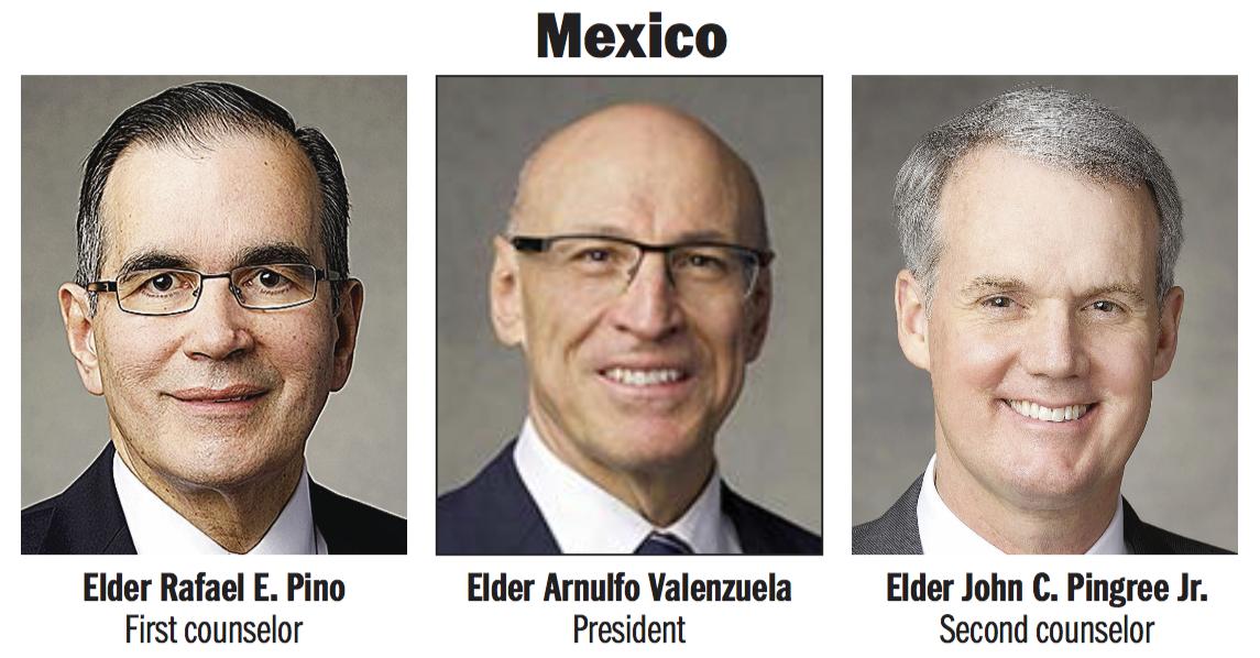 Mexico Area presidency: Elder Arnulfo Valenzuela, Elder Rafael E. Pino and Elder John C. Pingree Jr.