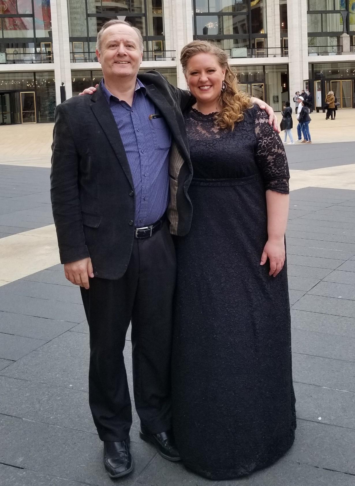 Mary Hoskins and her voice teacher, BYU professor Darrell Babidge, outside New York City's Metropolitan Opera House.