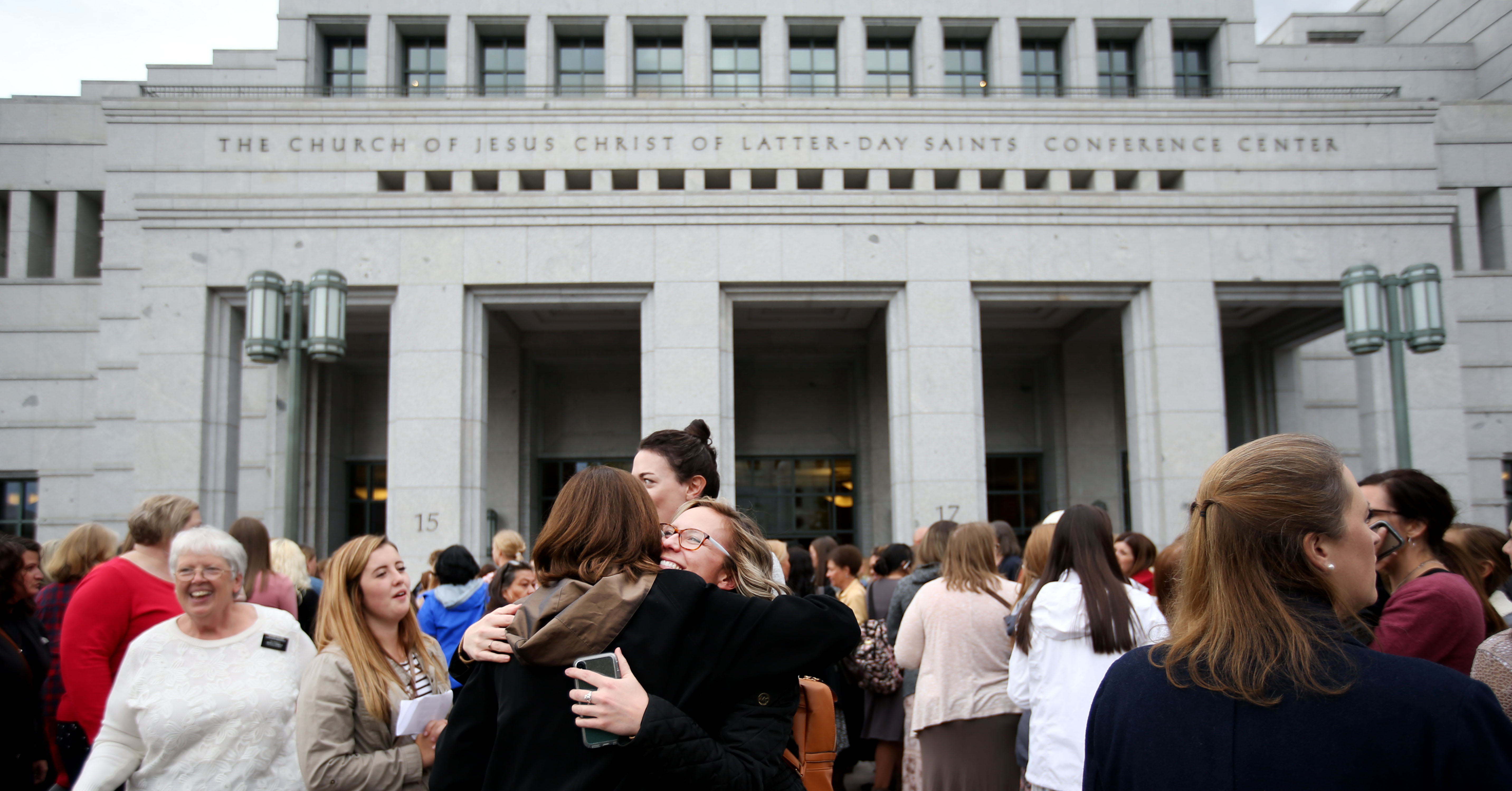 Women gather outside before the start of the general women's session of the 188th Semiannual General Conference of The Church of Jesus Christ of Latter-day Saints held in the Conference Center in downtown Salt Lake City on Saturday, Oct. 6, 2018.