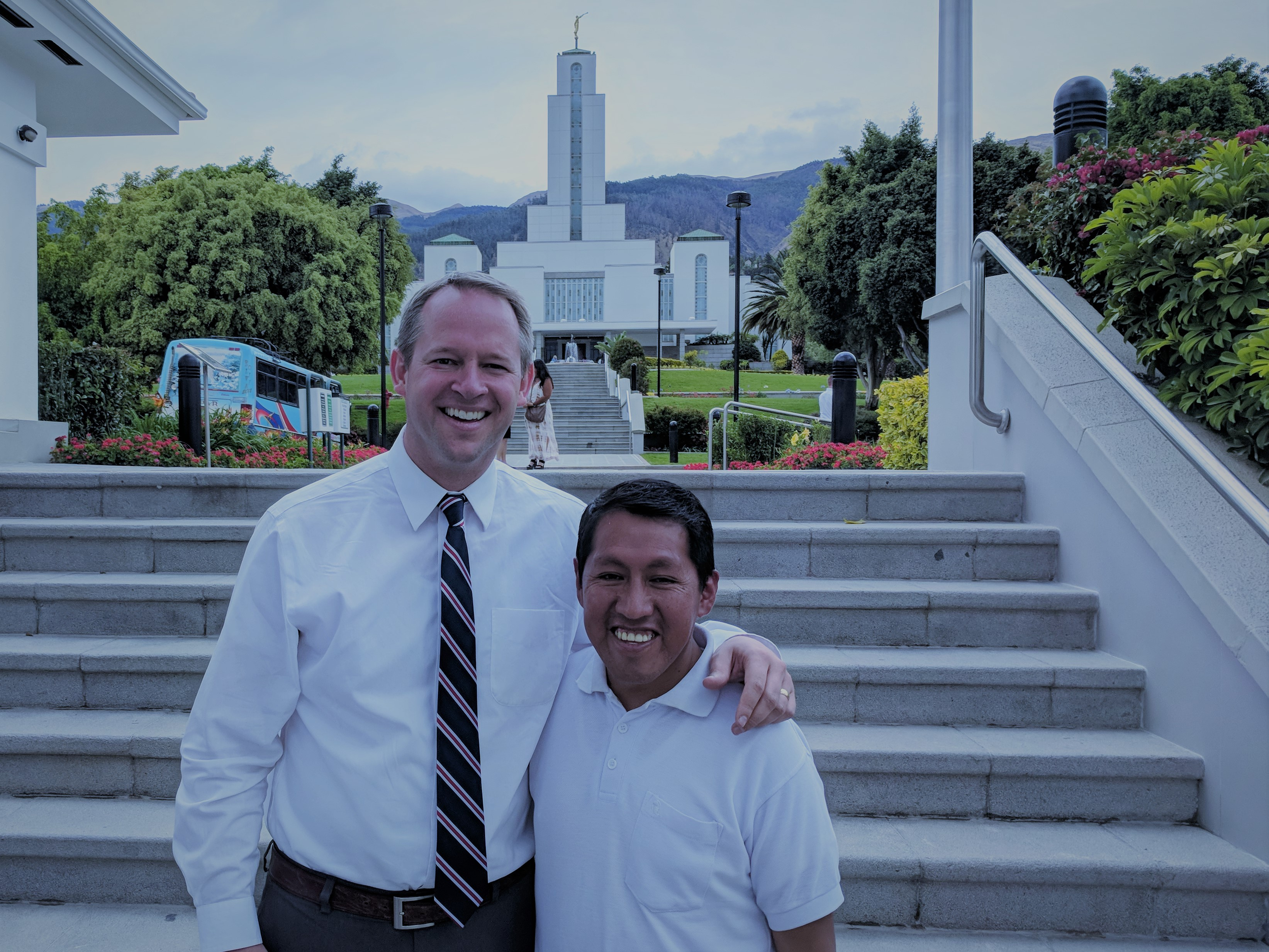 David McConkie with his friend from 20 years ago, then-Elder Javier Paco, outside the Cochabamba temple where they recently reunited in October.