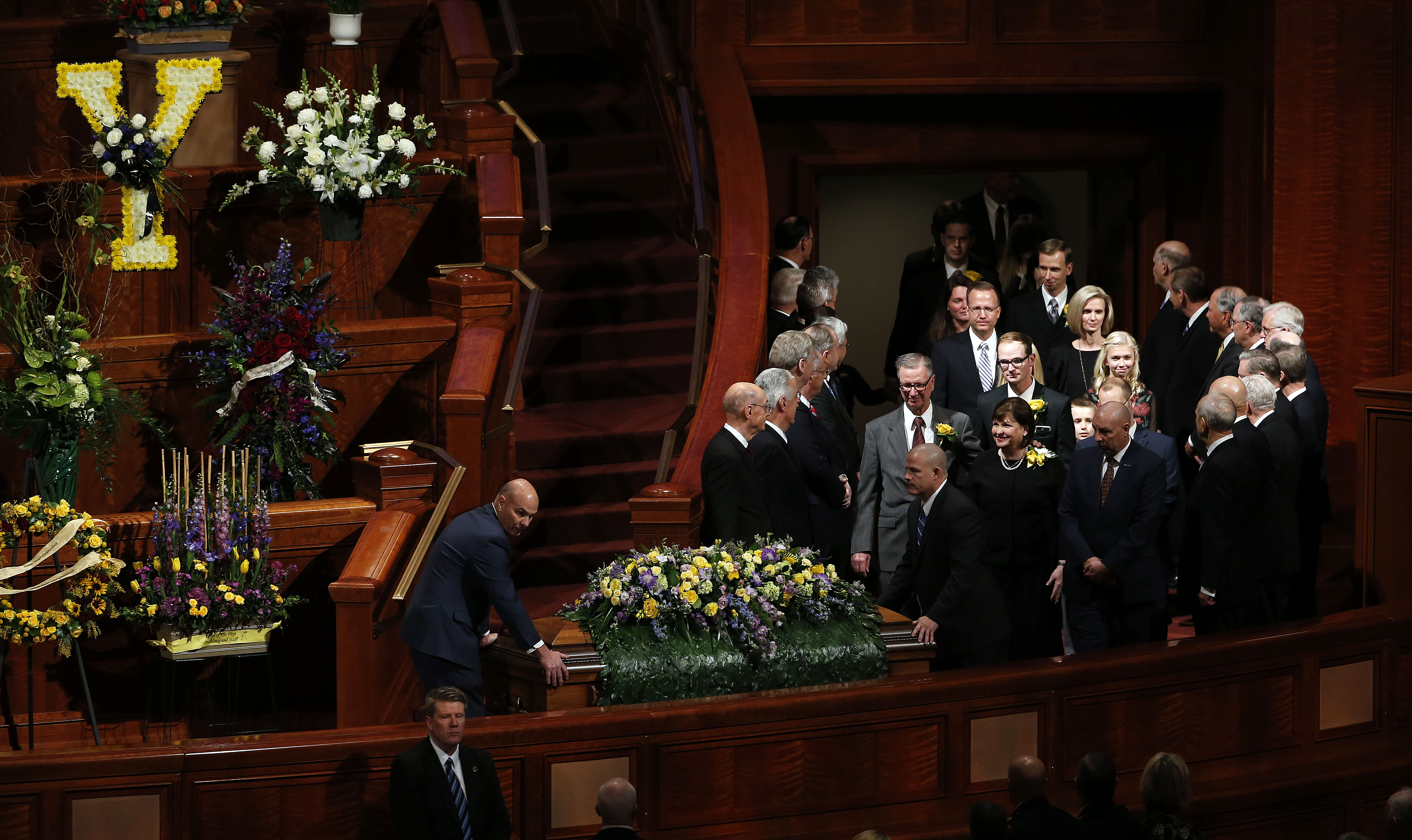 President Thomas S. Monson's casket is brought into the Conference Center in Salt Lake City on Friday, Jan. 12, 2018.