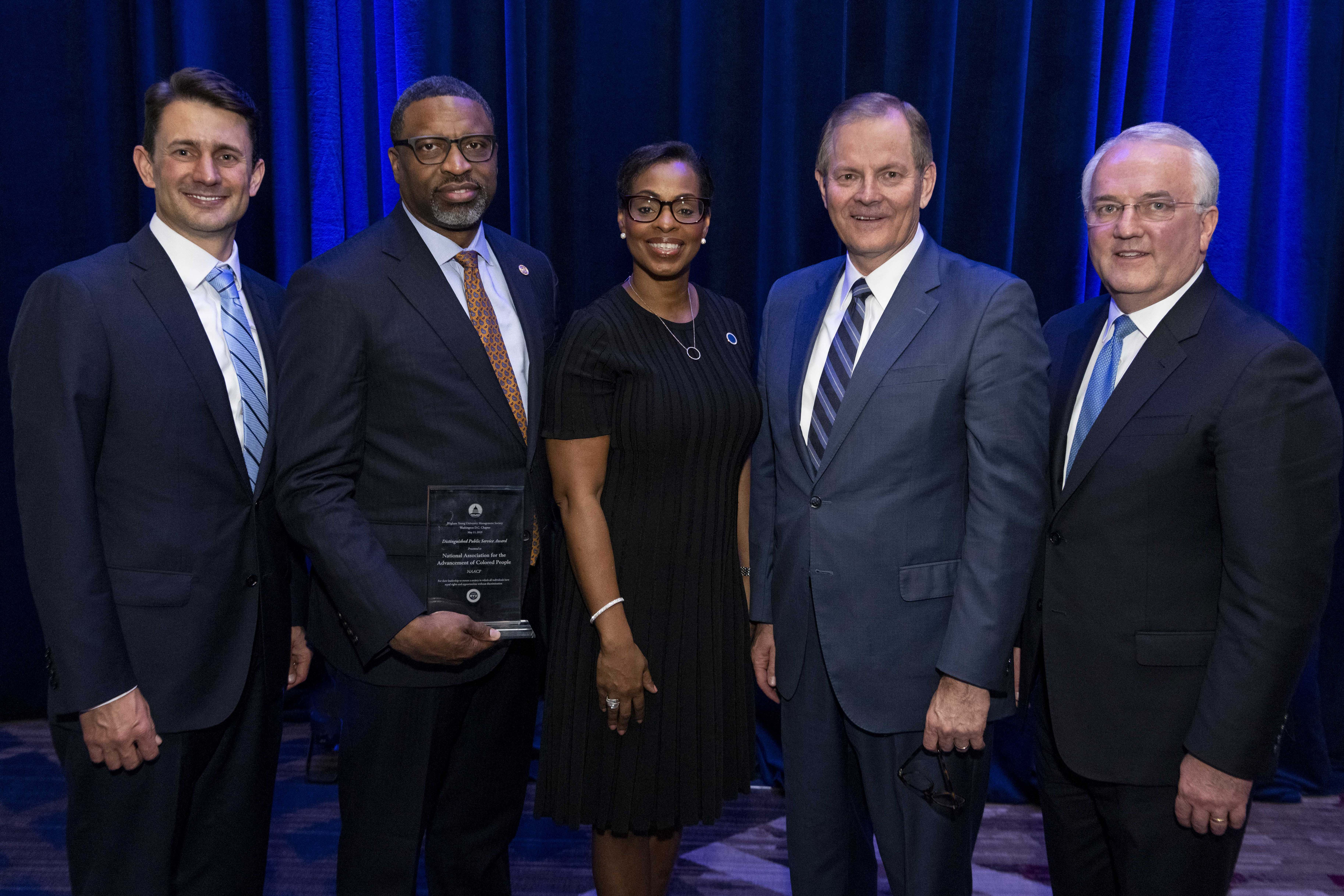 An award was presented to the NAACP in Washington, D.C., May 11, 2019. In the photo from left to right are: Mike Baird, BYU Management Society chapter president; NAACP President and CEO Derrick Johnson; Karen Boykin-Towns, NAACP vice chair; Elder Gary E. Stevenson and Elder Jack N. Gerard.