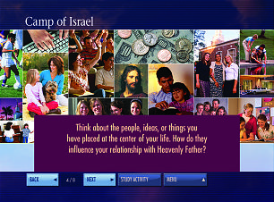 The new DVD set includes interactive charts such as this one pertaining to the Camp of Israel concept.