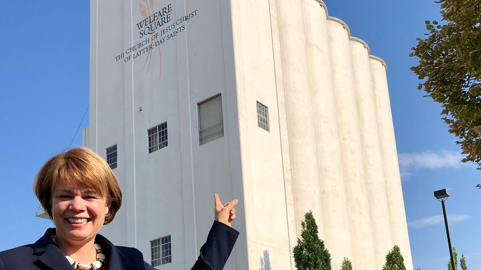 Sister Sharon Eubank, first counselor in the Relief Society general presidency, enjoys taking ambassadors and other international visitors to Welfare Square. One of her favorite places to stop on the tour is in front of the tall white grain elevators.