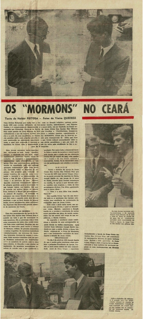 A full inside part of the Jan. 4, 1966, editor of the Correio do Ceará — one of several newspapers in Fortaleza, Brazil — feature the new missionaries of The Church of Jesus Christ of Latter-day Saints serving in the city.