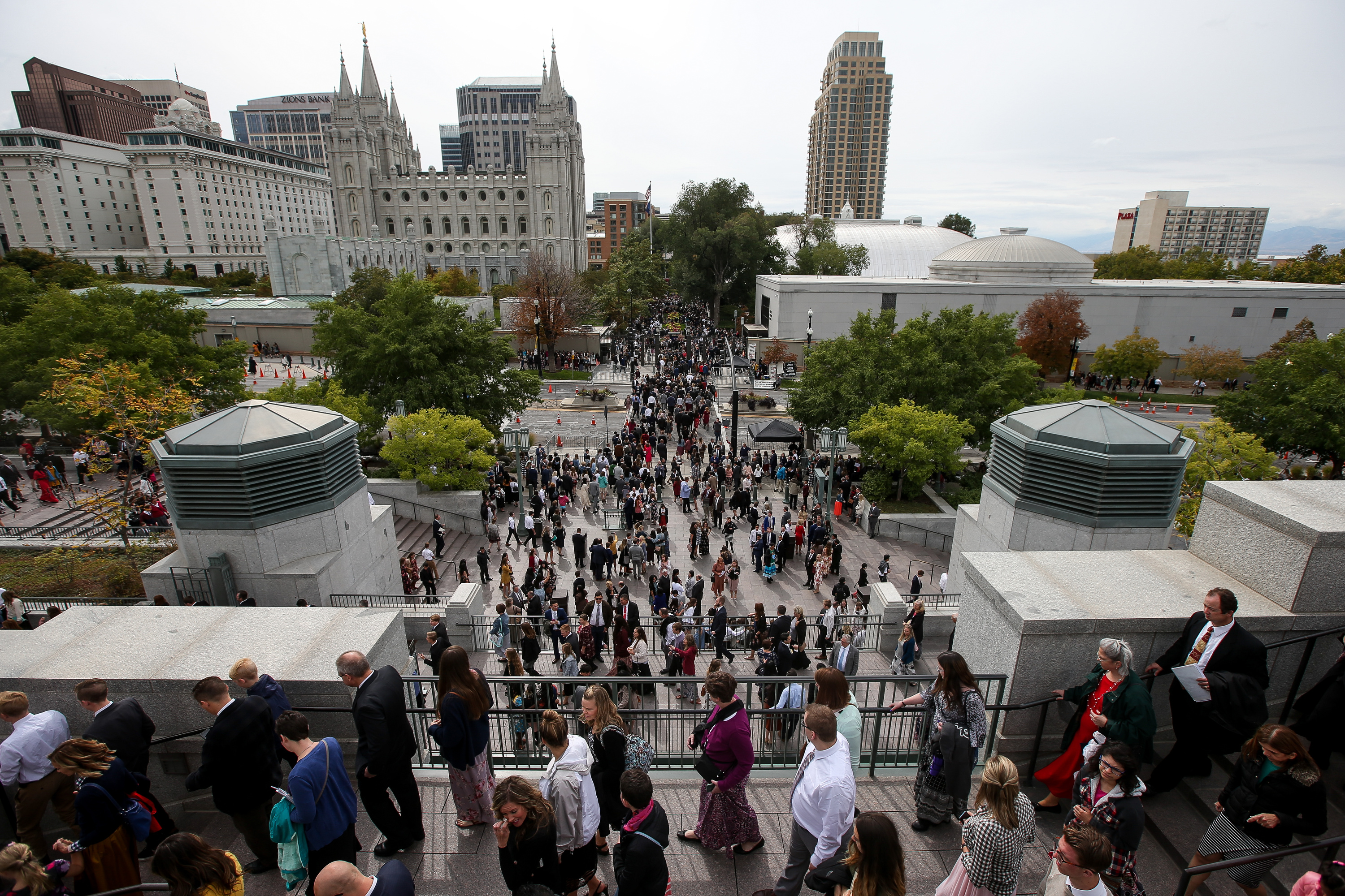 Conferencegoers depart after the Saturday morning session of the 188th Semiannual General Conference of The Church of Jesus Christ of Latter-day Saints in the Conference Center in Salt Lake City on Saturday, Oct. 6, 2018.