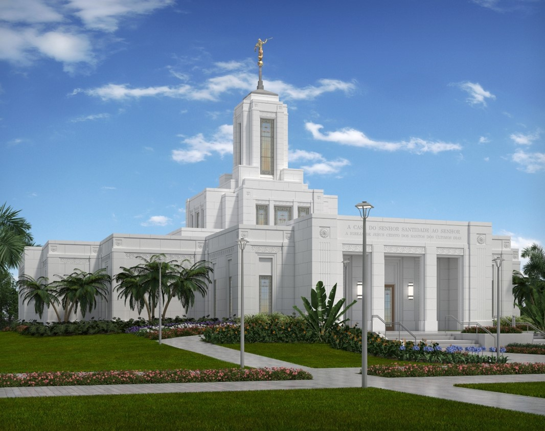 Rendering of the Belem Brazil Temple. The groundbreaking will be held on Aug. 17, 2019.