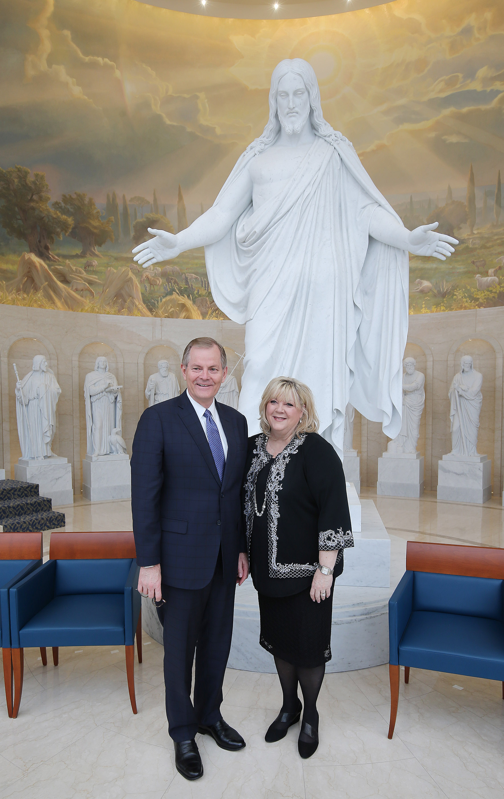 Elder Gary E. Stevenson, Quorum of the Twelve Apostles of The Church of Jesus Christ of Latter-day Saints, and his wife Lesa pose for a photograph in the Rome Italy Temple visitors center in Rome, Italy on Monday, March 11, 2019.