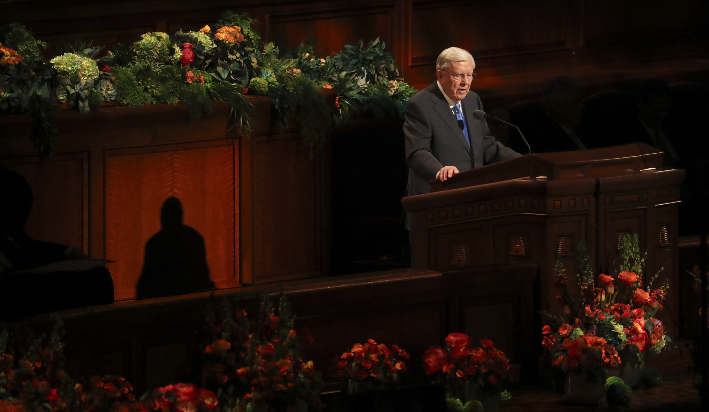President M. Russell Ballard, acting president of the Quorum of the Twelve Apostles, speaks during the afternoon session of the 189th Annual General Conference of The Church of Jesus Christ of Latter-day Saints at the Conference Center in Salt Lake City on Saturday, April 6, 2019.