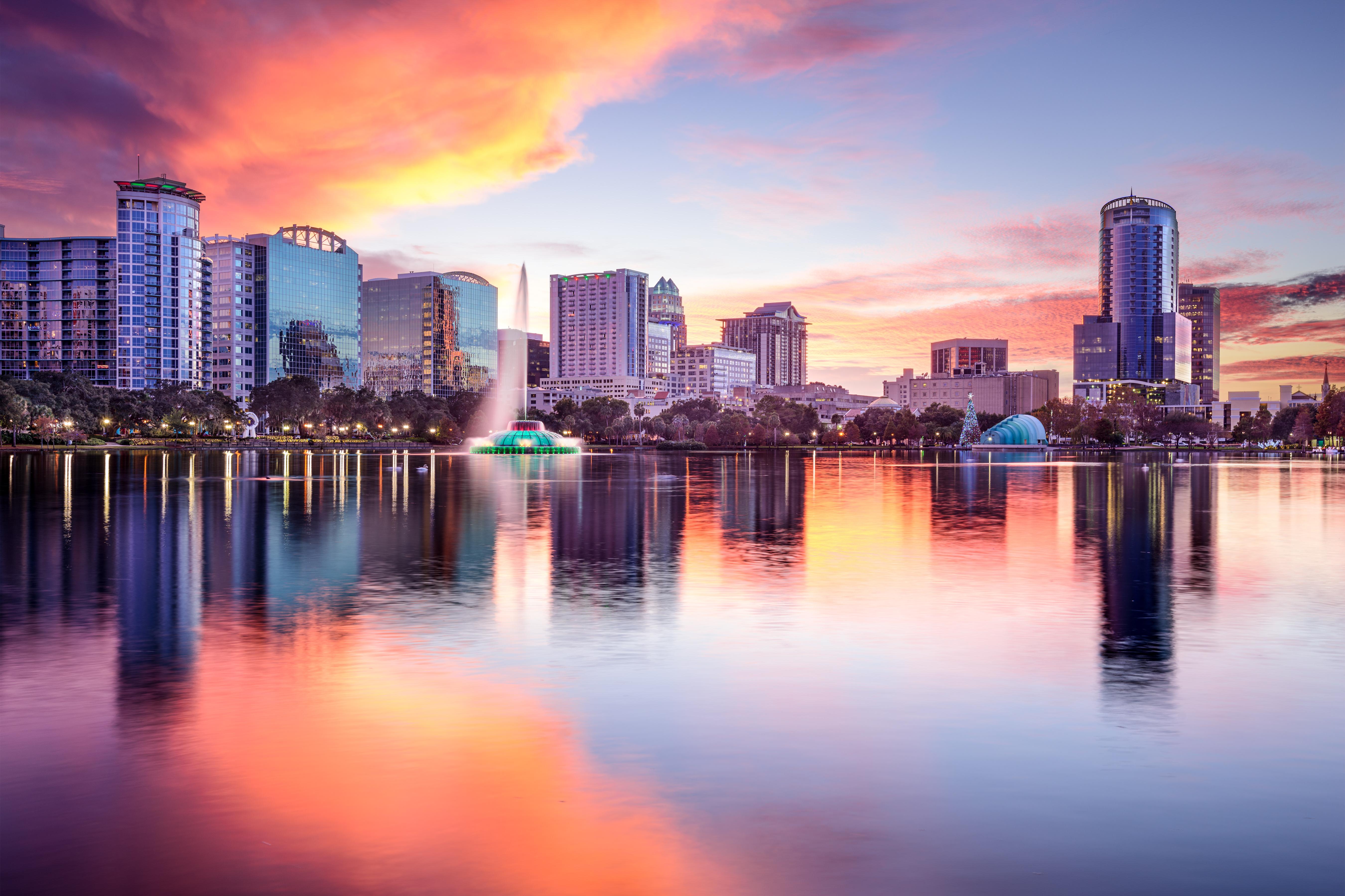 Orlando, Florida, city skyline from Eola Park.