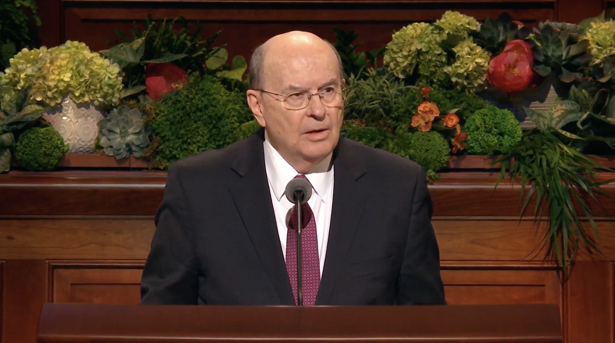 Elder Quentin L. Cook of the Quorum of the Twelve Apostles gives his address during the Sunday morning session of the 189th Annual General Conference on April 7, 2019.