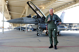 President Dieter F. Uchtdorf prepares for flight in an F-16 during a visit to Utah's Hill Air Force Base in July. He said the flight was joyful and impressive, a kind of closure to his whole flying career.