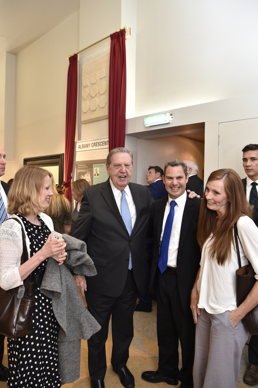Elder Jeffrey R. Holland enjoys visiting with guests at the Stirling Smith Art Gallery and Museum in Stirling, Scotland, on July 5, 2018.