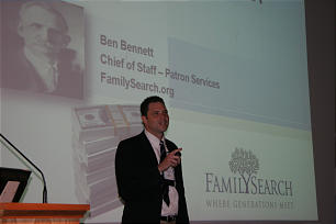 "Ben Bennett, chief of staff for patron services at FamilySearch, gives presentation on ""How to Be a Family History Millionaire,"" at the Annual Conference on Family History and Genealogy at BYU on July 27. He spoke on the concept of community."