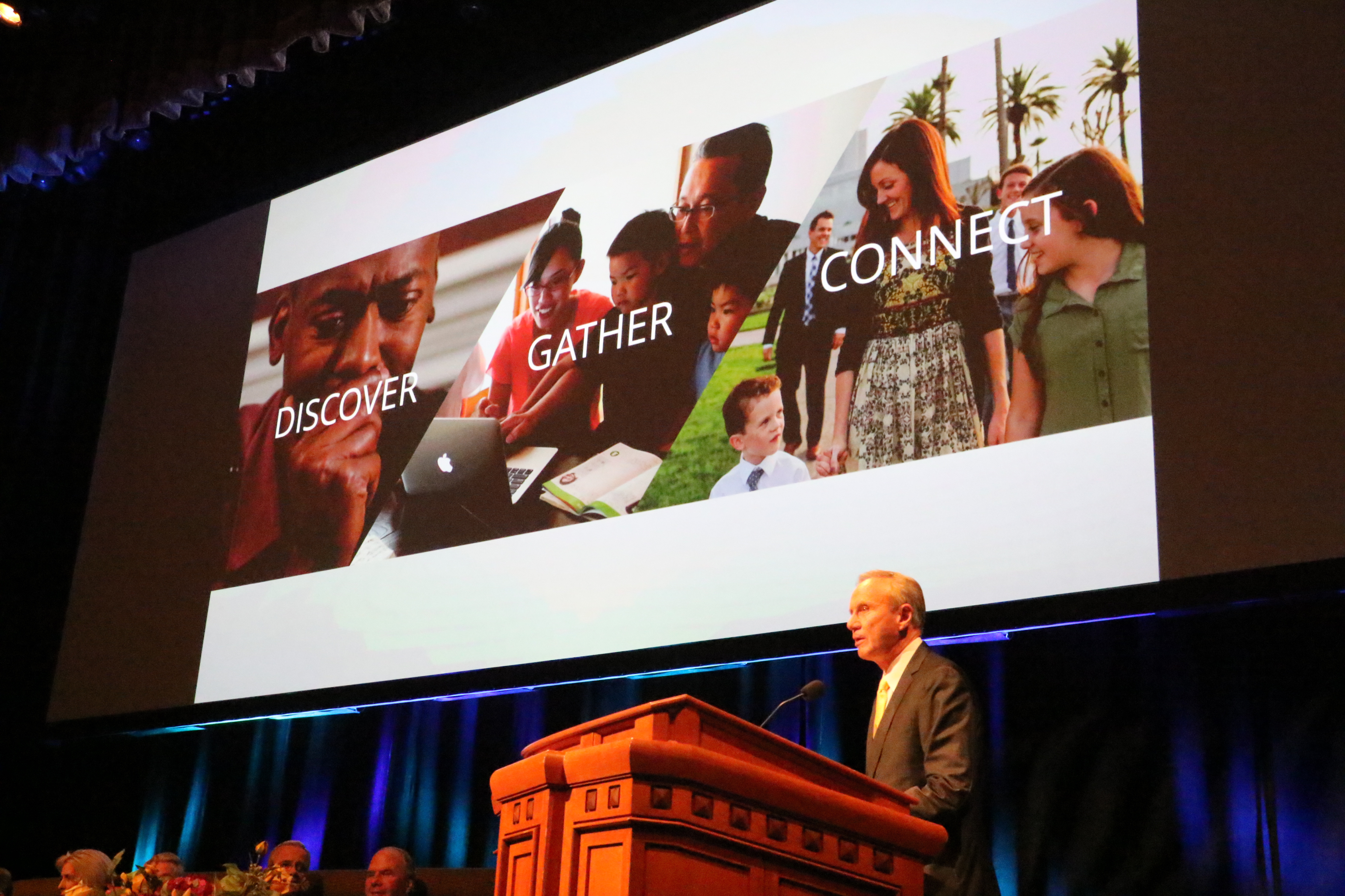 Elder Bradley D. Foster addresses Family History Leadership Session at RootsTech March 1, 2018. This year's RootsTech is scheduled for Feb. 27-March 2 at the Salt Palace Convention Center.