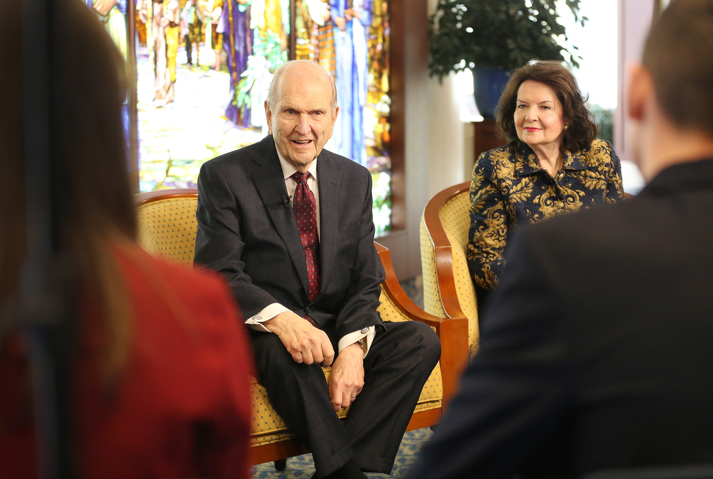 President Russell M. Nelson of The Church of Jesus Christ of Latter-day Saints and how wife Sister Wendy Nelson meet with youth in Rome, Italy on Saturday, March 9, 2019.