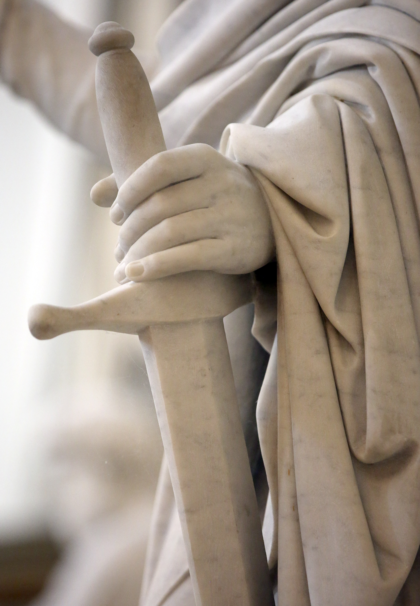Bertel Thorvaldsen's statue of Paul, one of the 12 apostles, holds a sword at the Church of Our Lady in Copenhagen, Denmark, on Tuesday, Nov. 13, 2018. The 12 apostles statues were carved out of Carrara marble between 1829 and 1848. Replicas of the statues are now on display in the Rome Temple Visitors' Center in Italy.