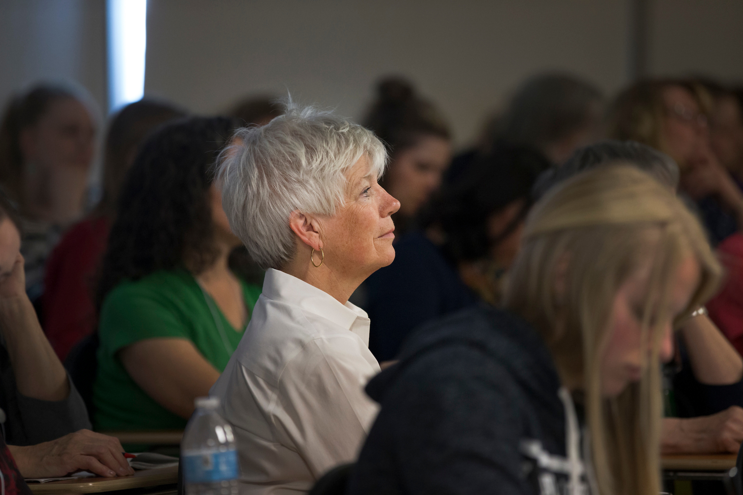 Women listen during a session of BYU Women's Conference held on the BYU campus in Provo, Utah, on May 3-4, 2018.