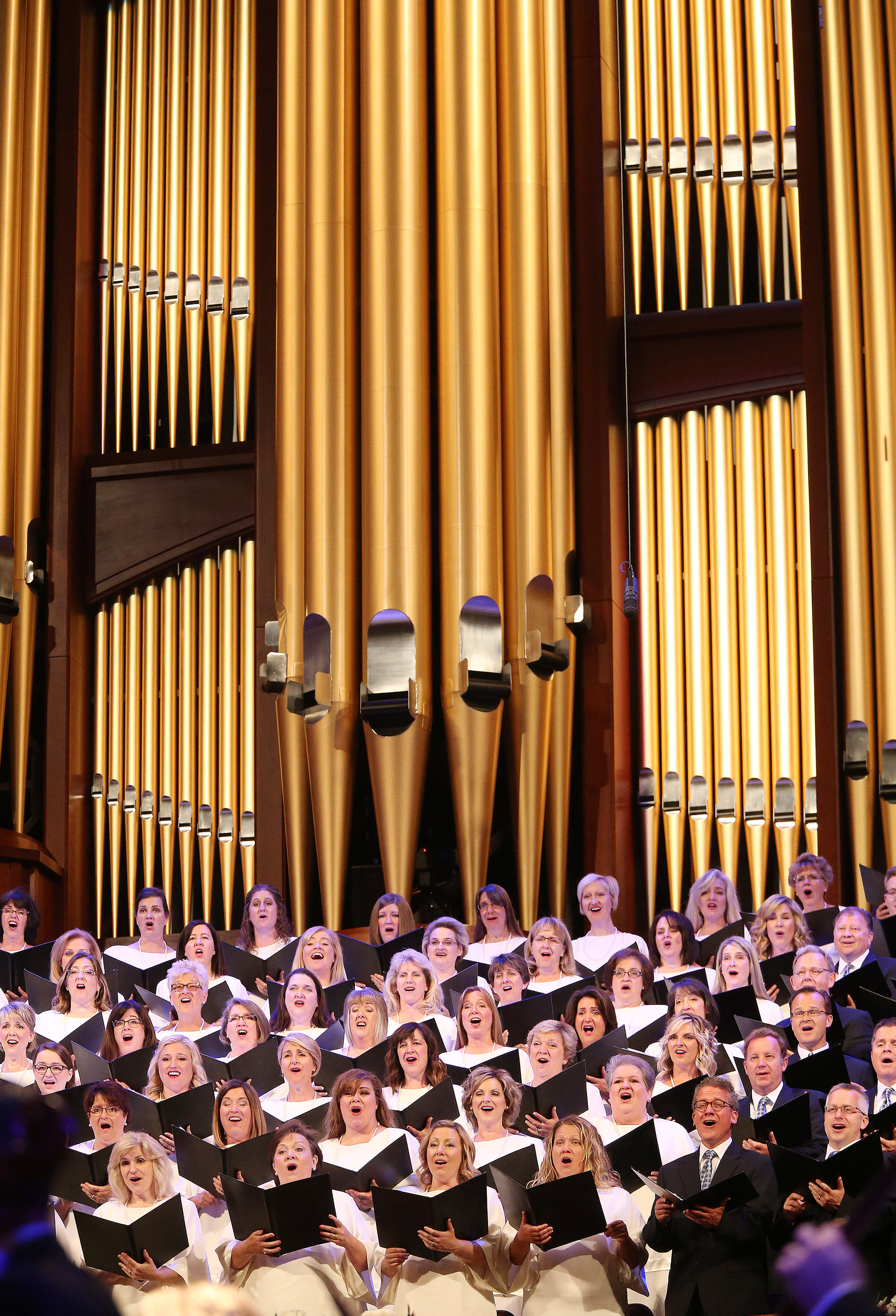 "The Tabernacle Choir at Temple Square rehearse for ""Music and the Spoken Word"" in Salt Lake City on Sunday, July 14, 2019. The choir celebrated the 90th anniversary of ""Music and the Spoken Word"" being on air, making it the longest running continuously broadcast network program in the United States."