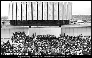 Several thousand people attend a ceremony May 21, 1971, to place the symbolic cornerstone of the Provo Temple while it was still being built. On Feb. 9, 1972, Pres. Harold B. Lee of the First Presidency read the dedicatory prayer written by Pres. Joseph Fielding Smith.