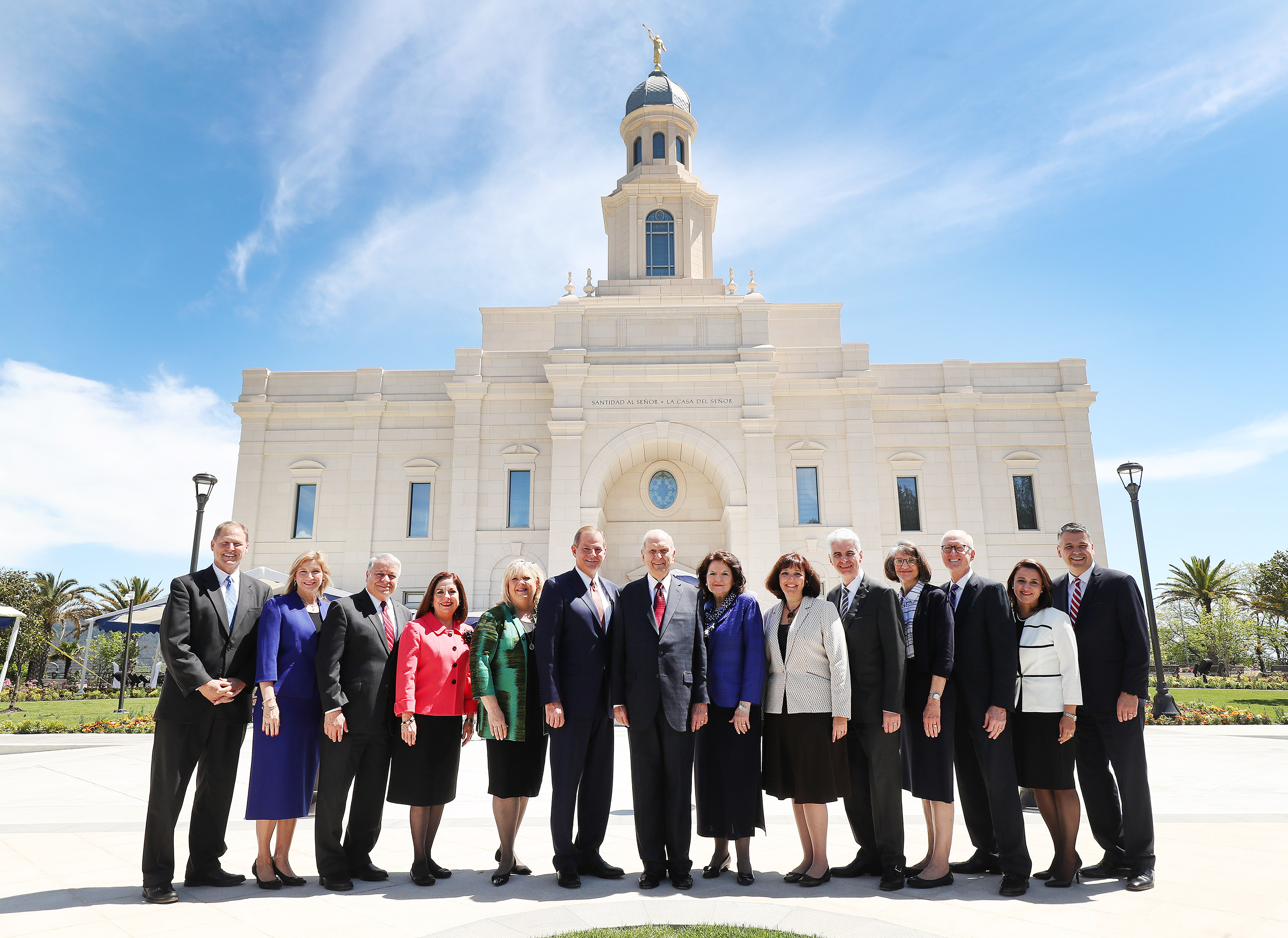 President Russell M. Nelson of The Church of Jesus Christ of Latter-day Saints and his wife, Sister Wendy Nelson. Also pictured are Elder Gary E. Stevenson of the Quorum of the Twelve Apostles and his wife, Sister Lesa Stevenson, with other Church leaders near the temple in Concepcion, Chile, on Saturday, Oct. 27, 2018.
