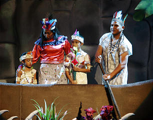"Actors depict an indigenous family during one of the many scenes included in the recent ""Luz de las Naciones"" production."