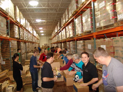 Volunteers responded to a call to serve at the Tucker, Ga., Bishops' Storehouse to prepare materials to be shipped into areas affected by recent severe weather.