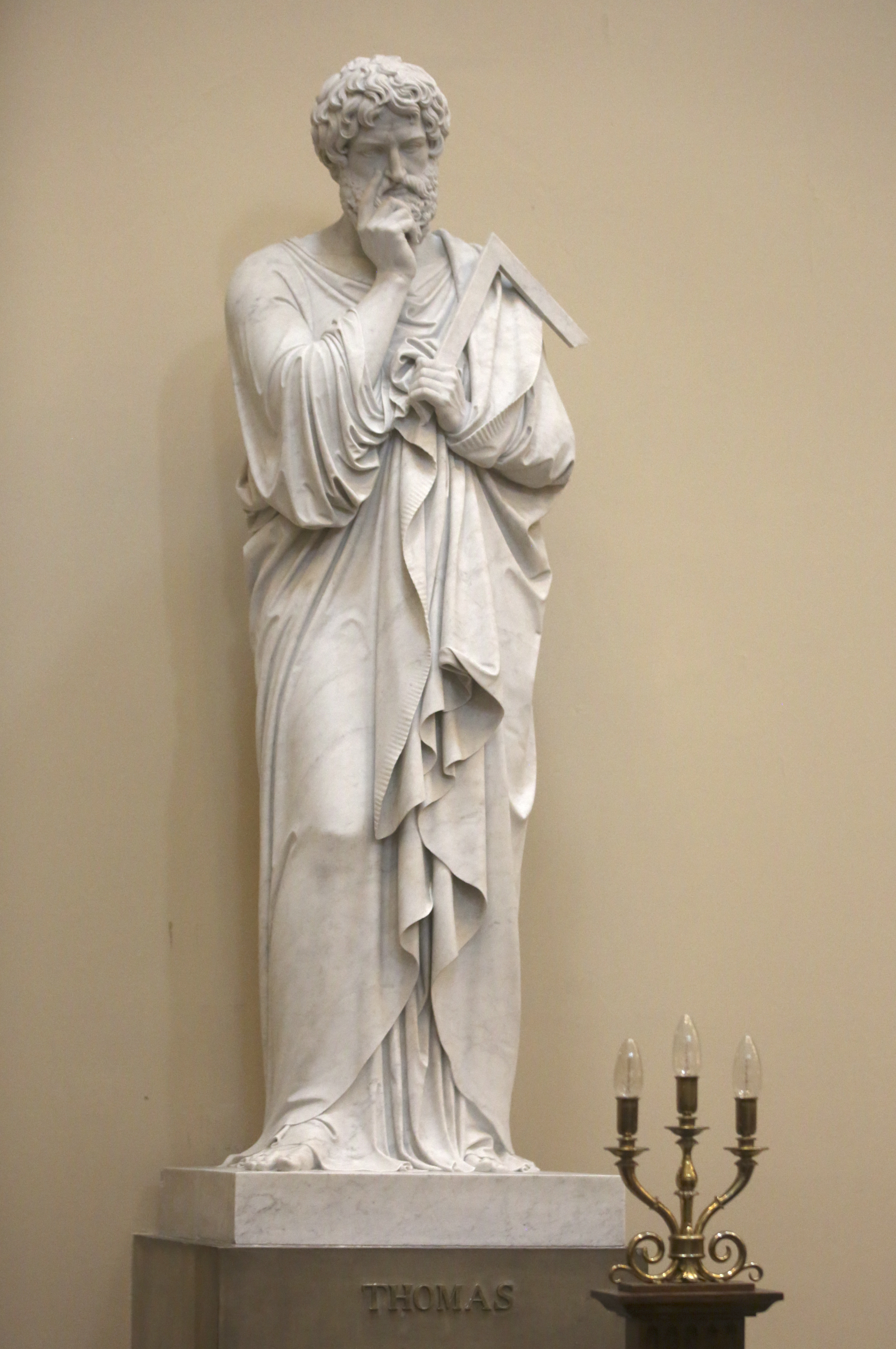 Thomas, one of the 12 apostle statues, by Danish sculptor Bertel Thorvaldsen, at the Church of Our Lady in Copenhagen, Denmark, on Tuesday, Nov. 13, 2018. The statues were carved out of Carrara marble between 1829 and 1848. Replicas of the statues are now on display in the Rome Temple Visitors' Center in Italy.
