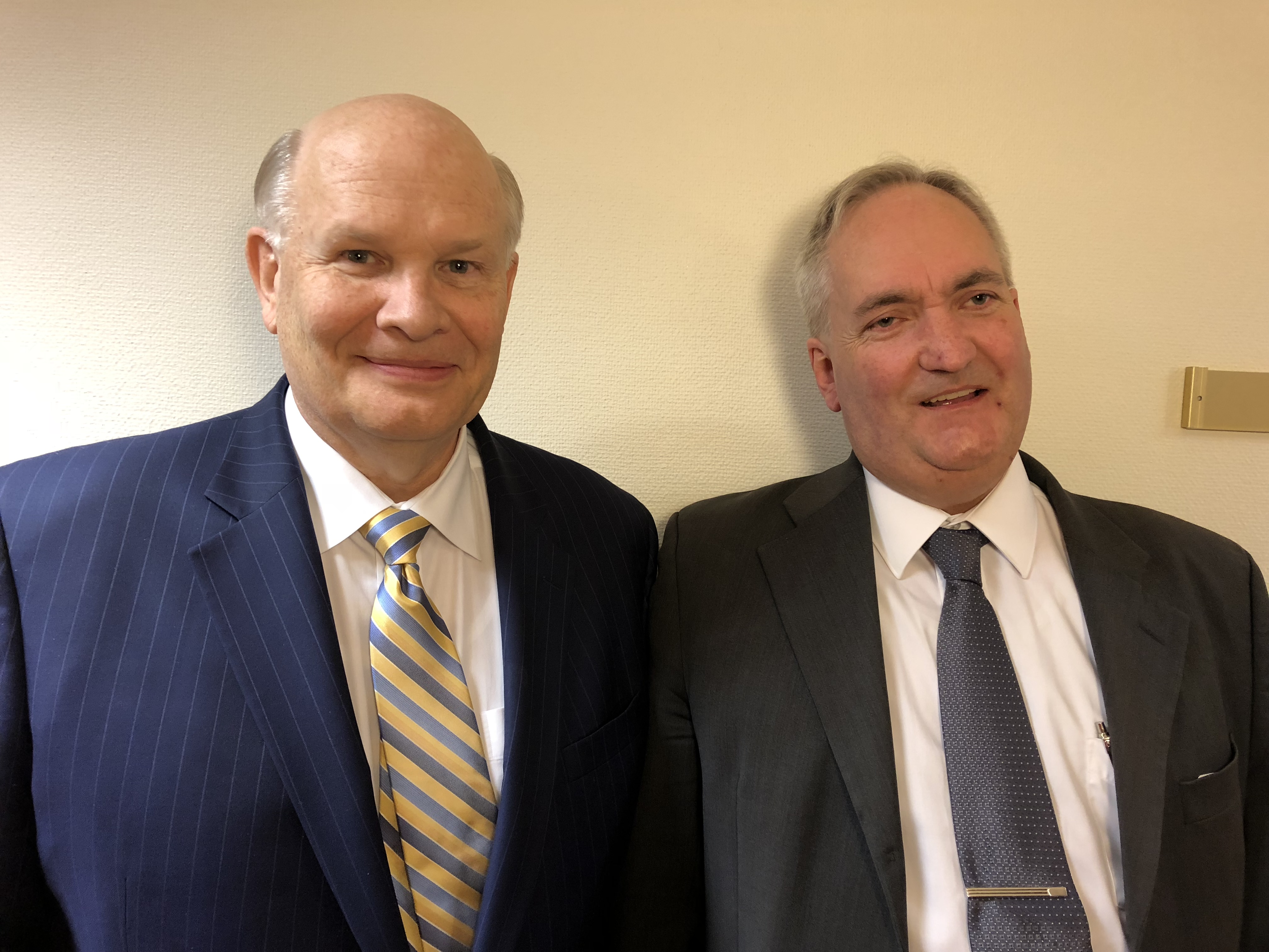 Elder Dale G. Renlund of the Quorum of the Twelve Apostles stands with Pablo Bensige, a man Elder Renlund taught and baptized while serving as a missionary in Sweden as a young man.