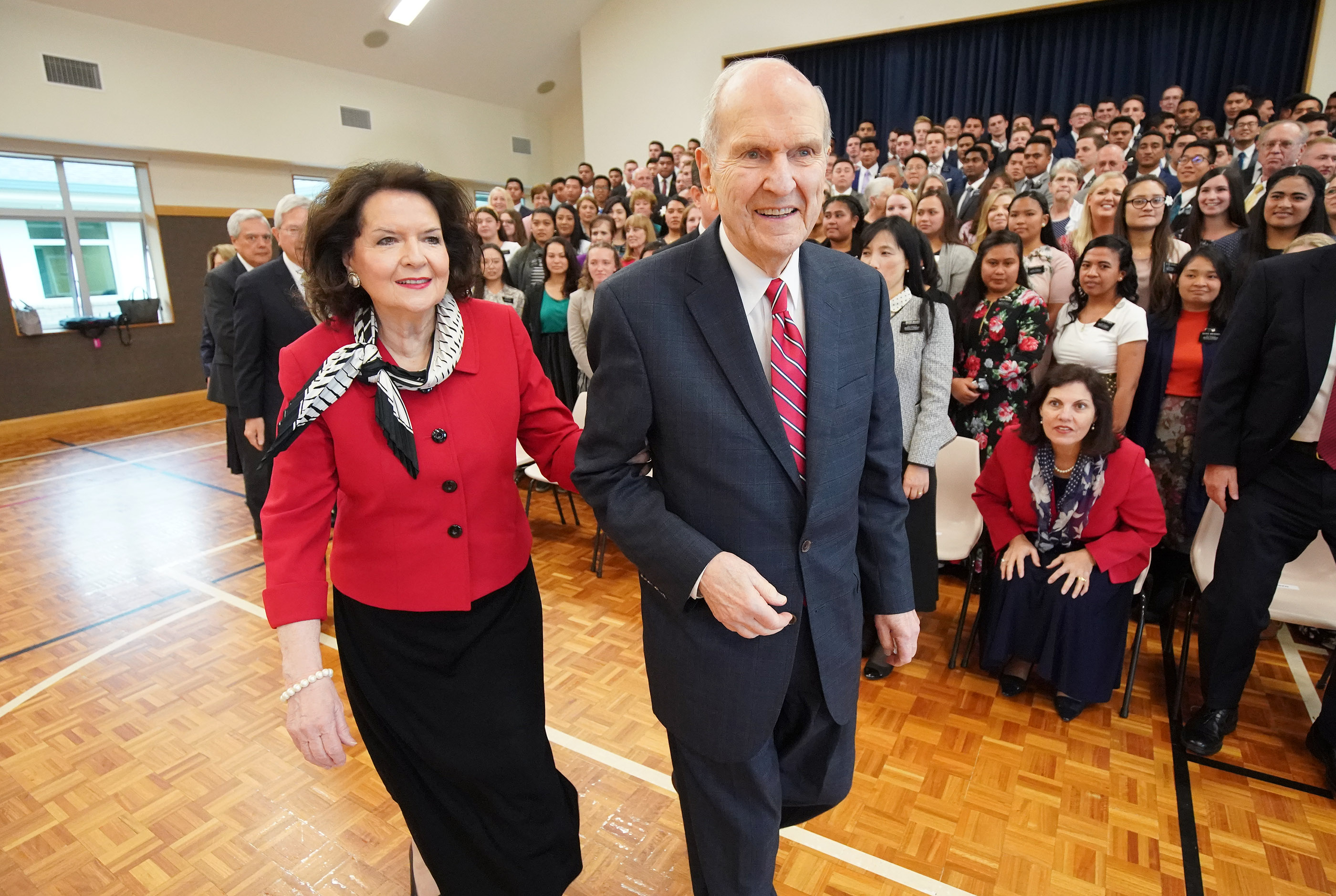 President Russell M. Nelson of The Church of Jesus Christ of Latter-day Saints and his wife, Sister Wendy Nelson, leave after getting a photo taken with missionaries in Auckland, New Zealand, on Tuesday, May 21, 2019.