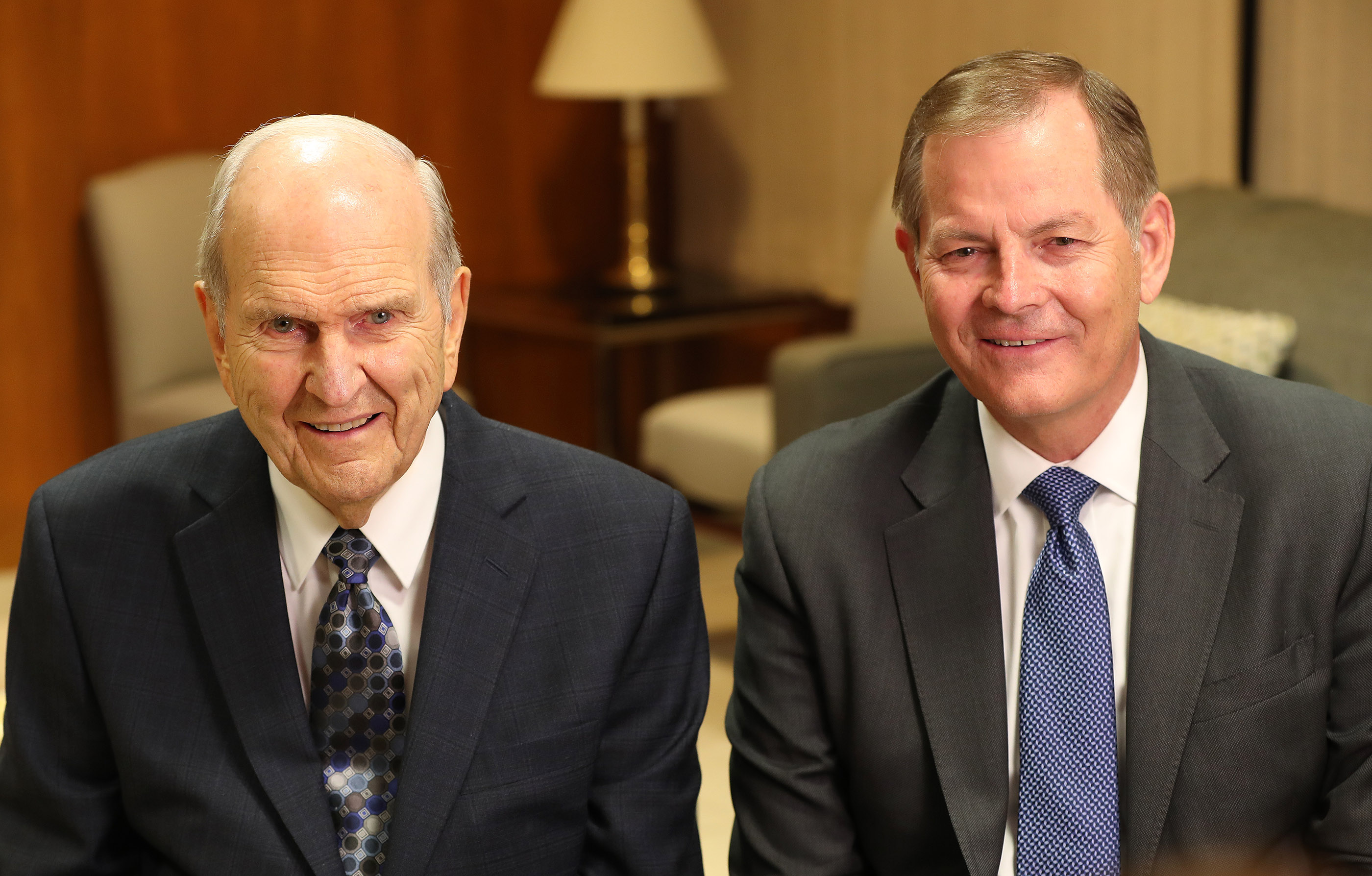 President Russell M. Nelson of The Church of Jesus Christ of Latter-day Saints and Elder Gary E. Stevenson of the Church's Quorum of the Twelve Apostles talk to media during a press conference in Asuncion, Paraguay, on Monday, Oct. 22, 2018.