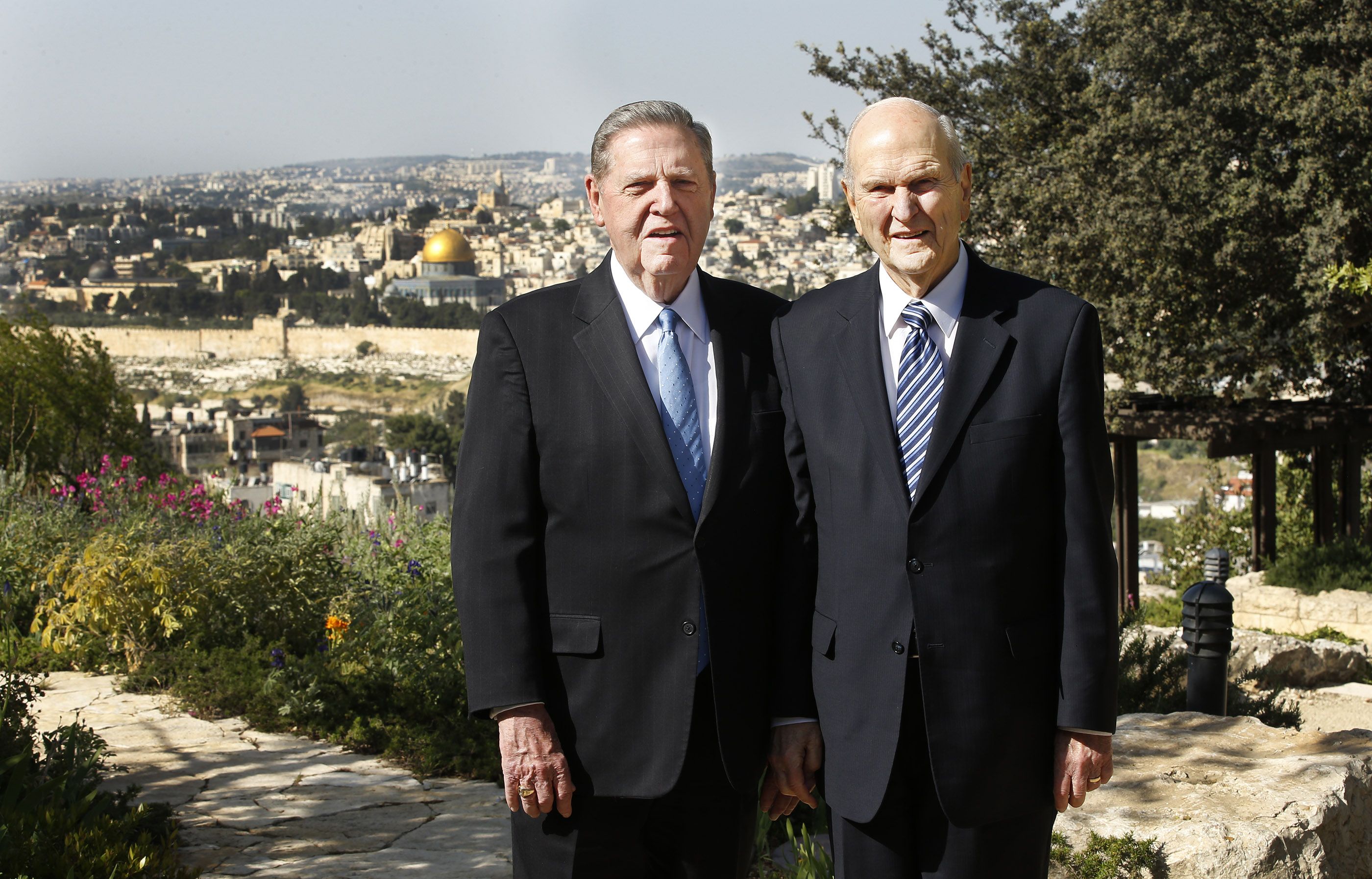 President Russell M. Nelson, president of The Church of Jesus Christ of Latter-day Saints, right, and Elder Jeffrey R. Holland, of the Quorum of the Twelve Apostles, stand together at the BYU Jerusalem Center in Jerusalem on Saturday, April 14, 2018. They are on a global tour of eight countries.